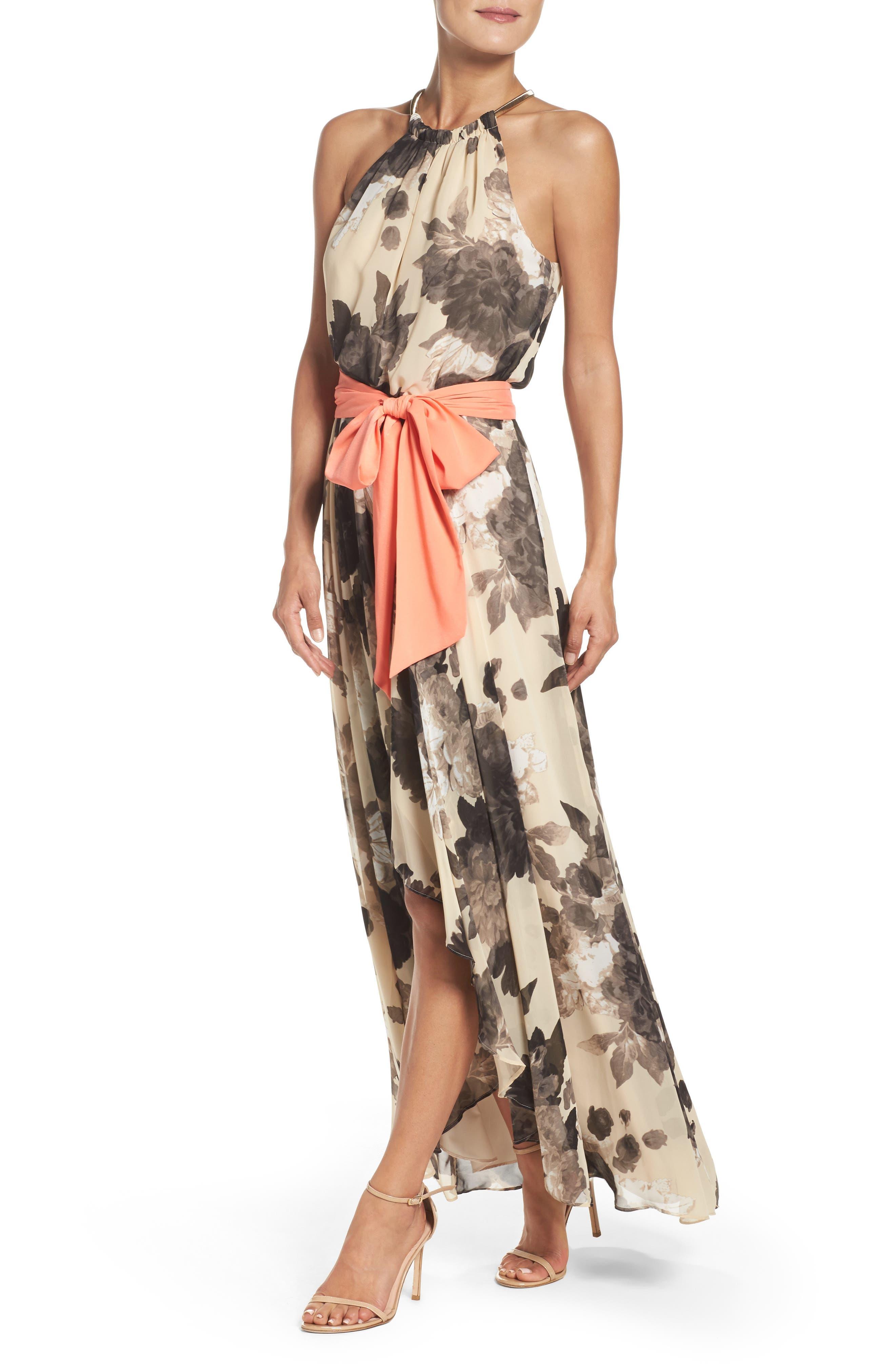 Floral Print Chiffon Maxi Dress,                             Alternate thumbnail 6, color,                             TAUPE/ BLACK