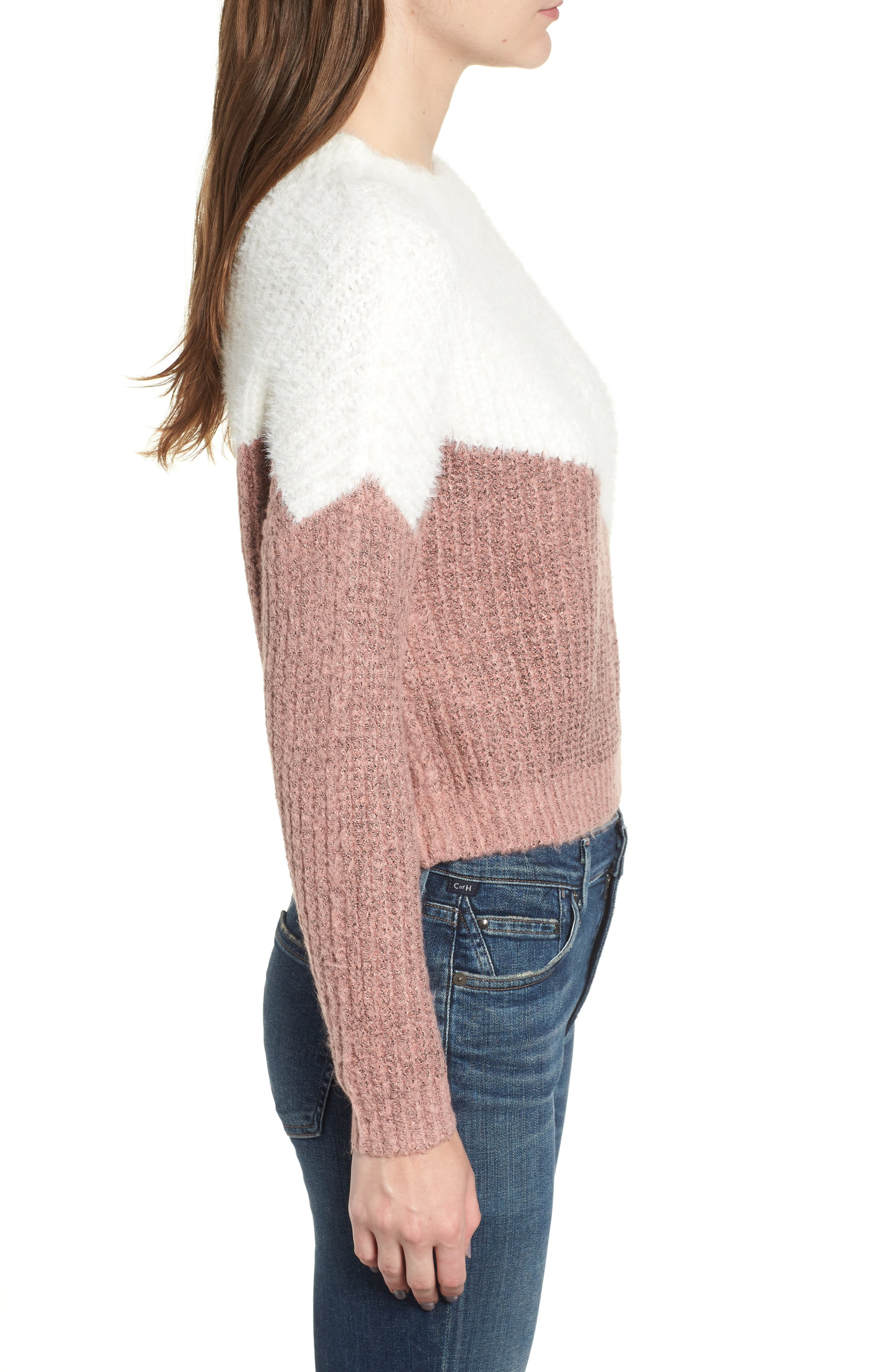 BISHOP + YOUNG,                             Diagonal Colorblock Sweater,                             Alternate thumbnail 3, color,                             650