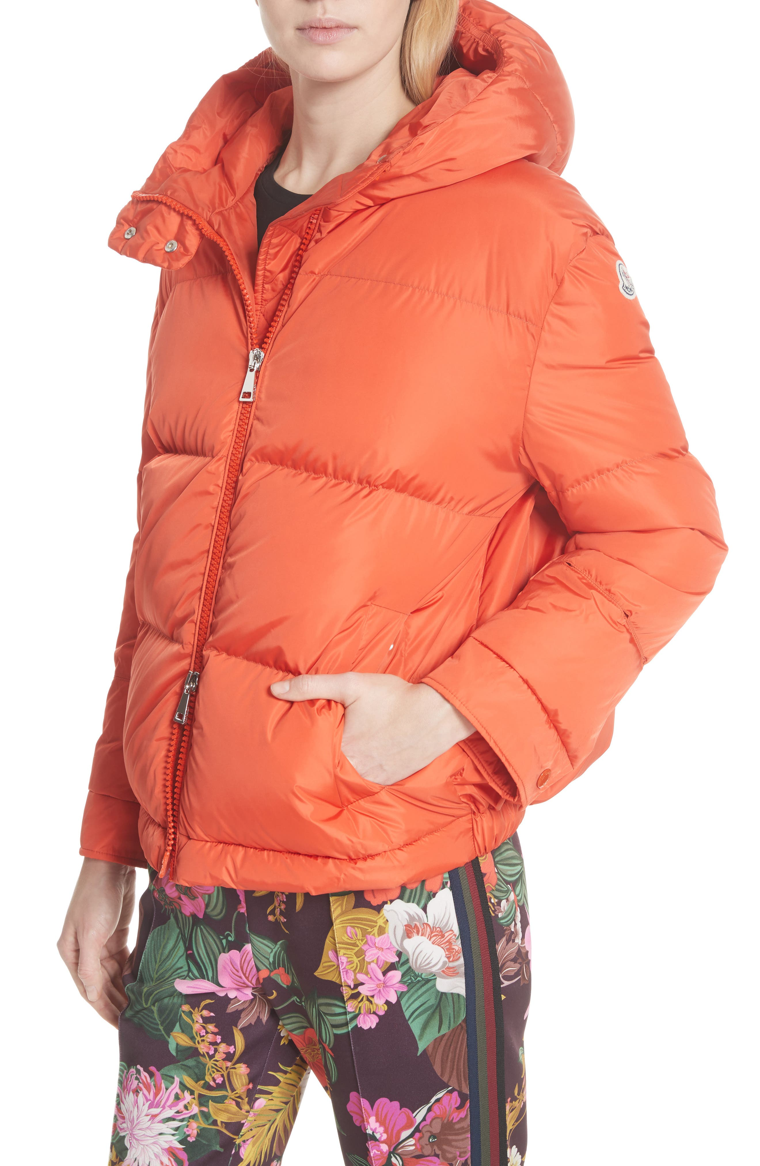MONCLER,                             Effraie Hooded Down Coat with Removable Genuine Fox Fur Cuffs,                             Alternate thumbnail 2, color,                             ORANGE