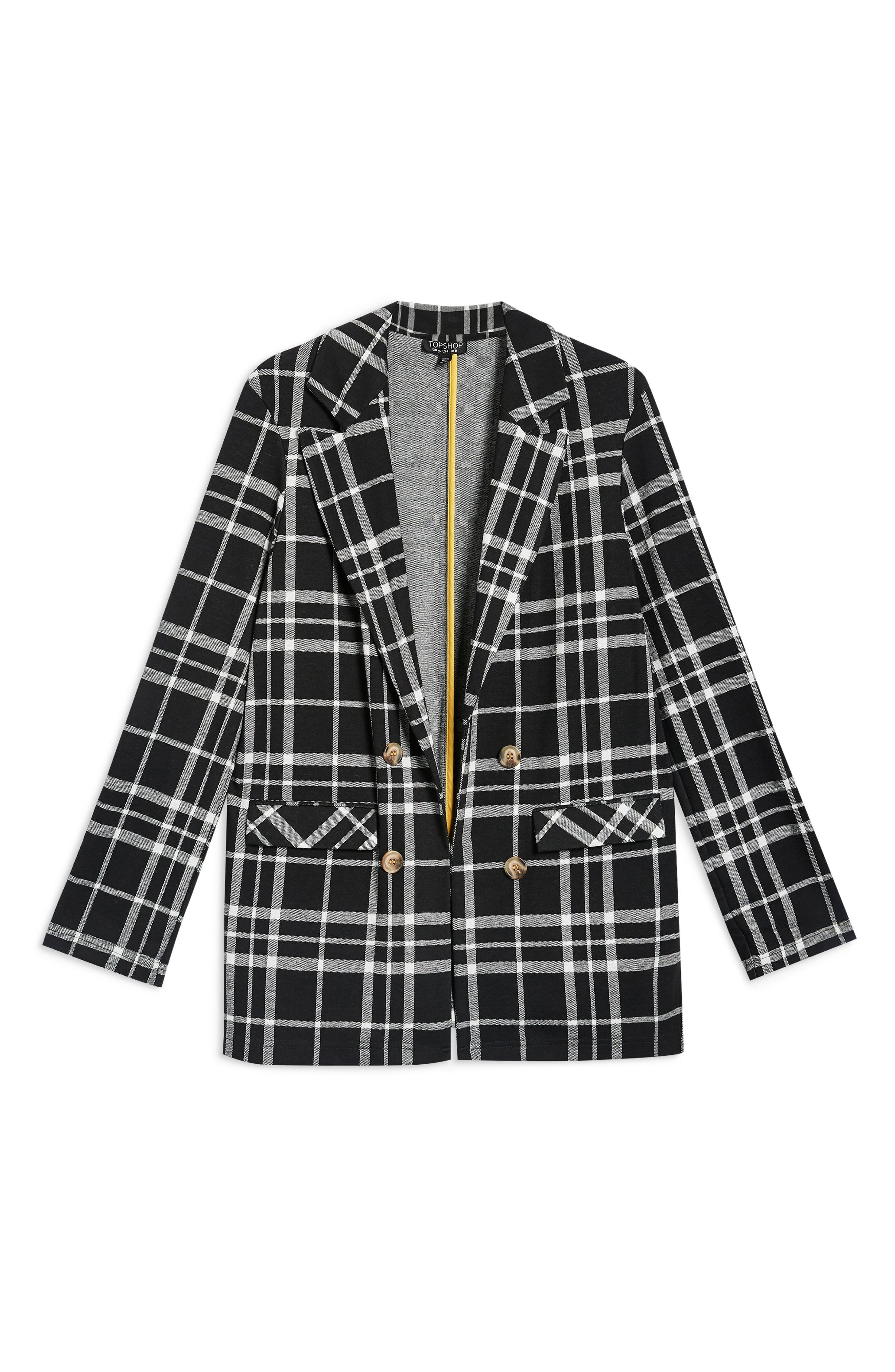 Double Breasted Check Jacket,                             Alternate thumbnail 4, color,                             BLACK MULTI