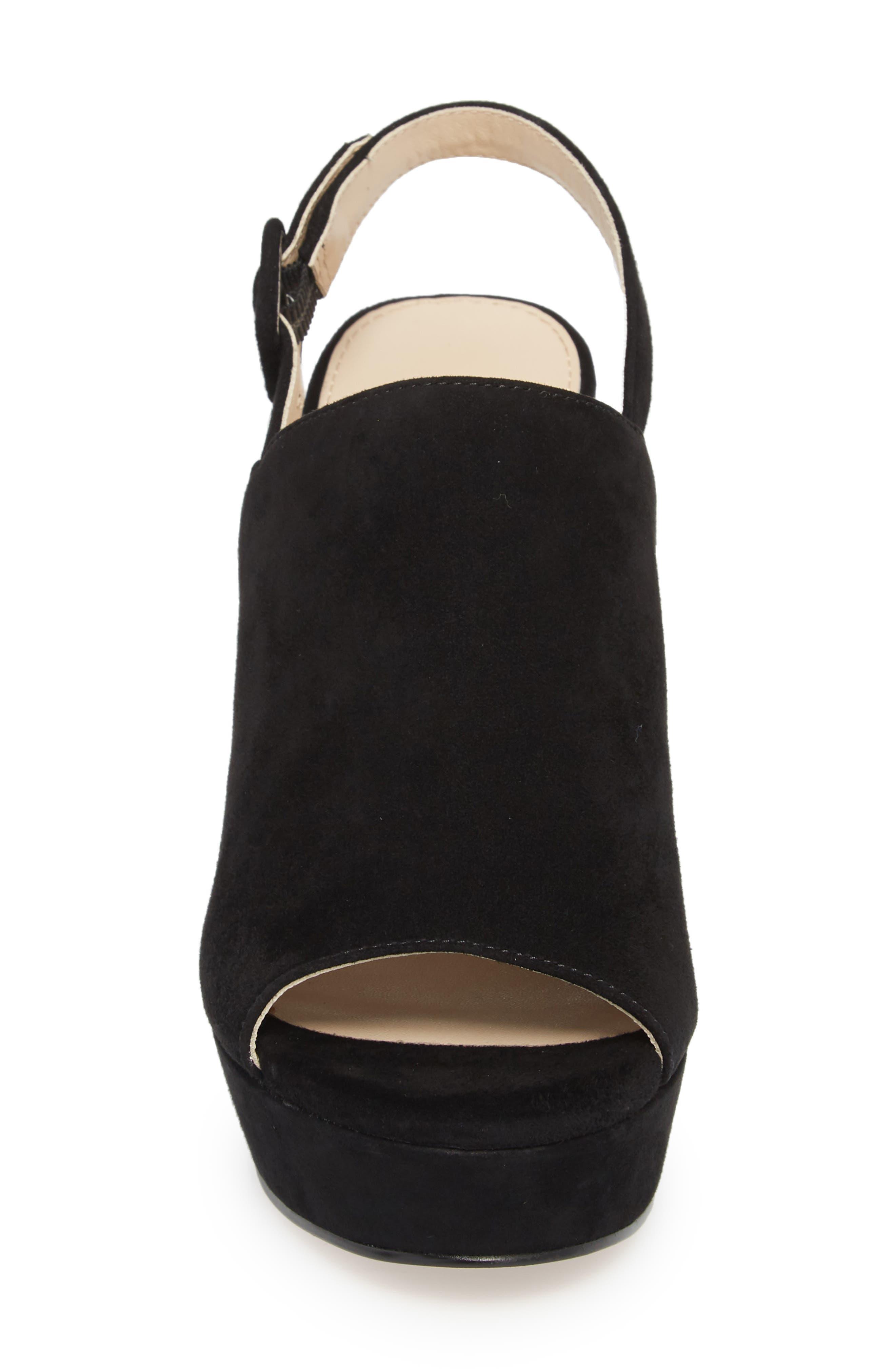Jolene Platform Sandal,                             Alternate thumbnail 4, color,                             BLACK SUEDE