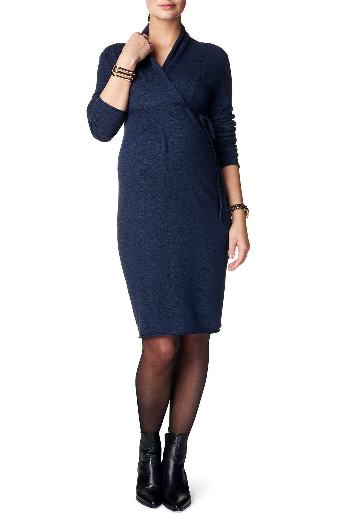 Zara Knit Maternity Sweater Dress,                             Main thumbnail 1, color,                             DARK BLUE