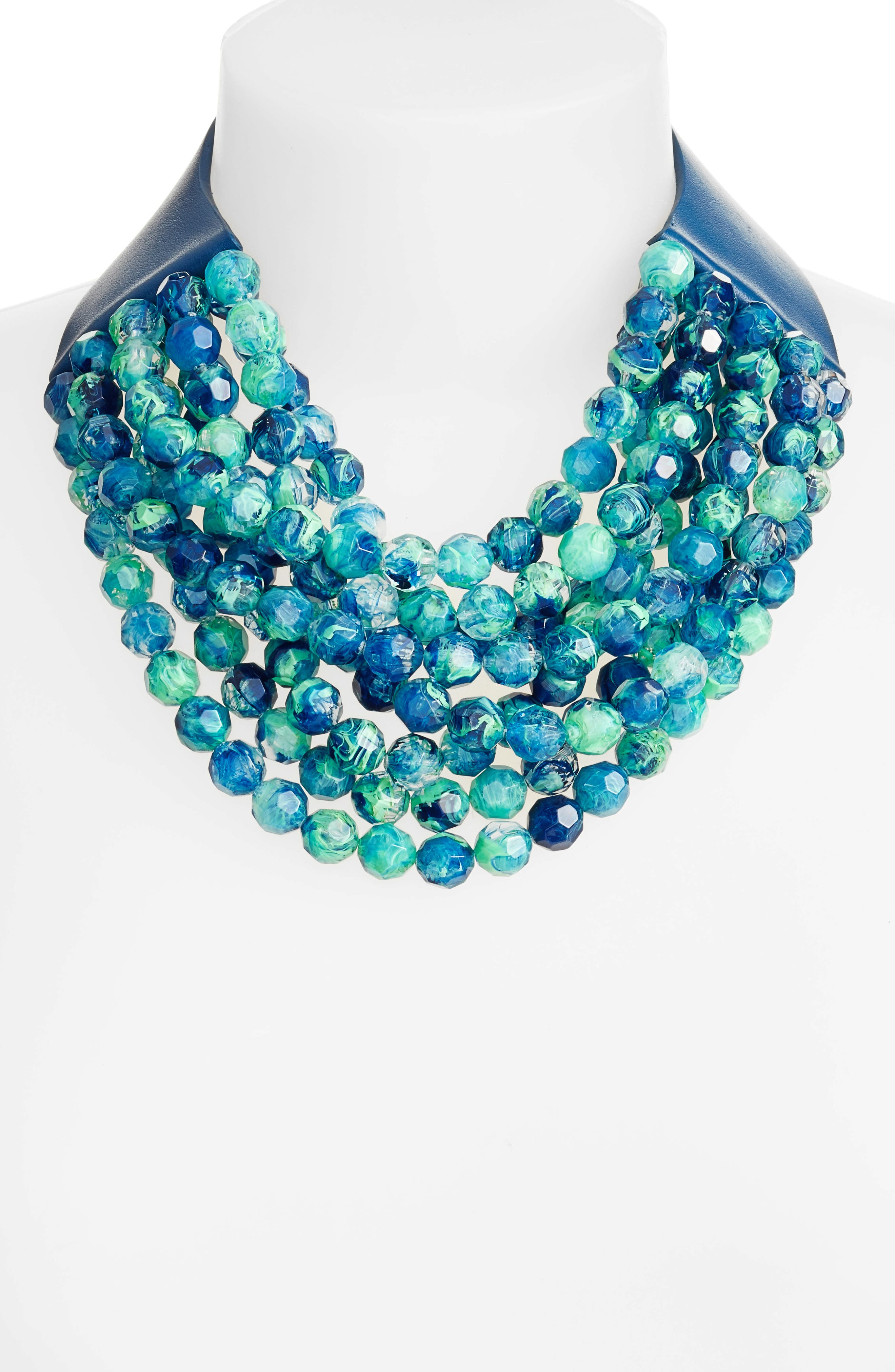 Bella Beaded Collar Necklace,                             Alternate thumbnail 2, color,                             TRANSPARENT MARBLE SEA GREEN