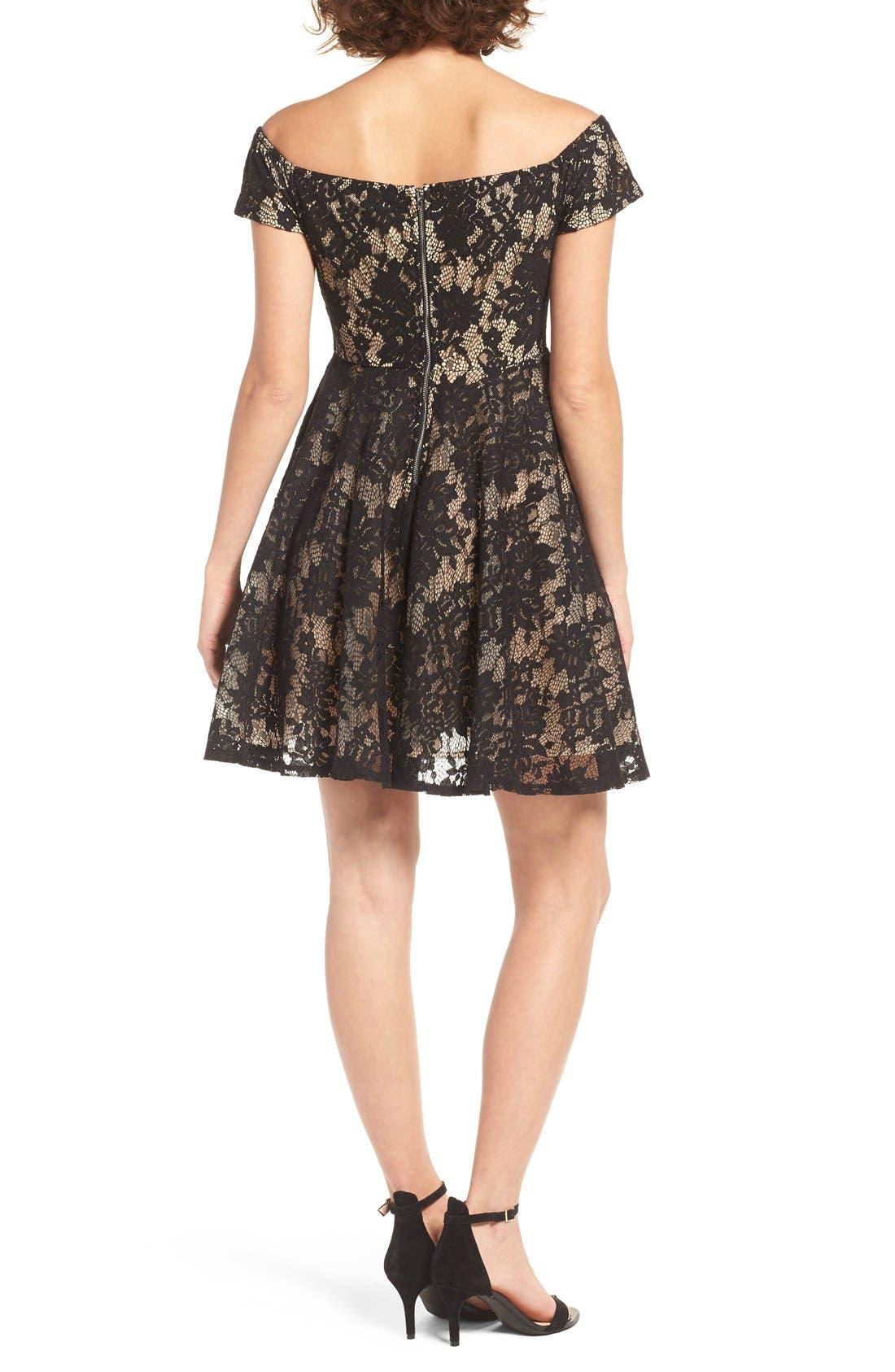 Lace Off the Shoulder Fit & Flare Dress,                             Alternate thumbnail 31, color,