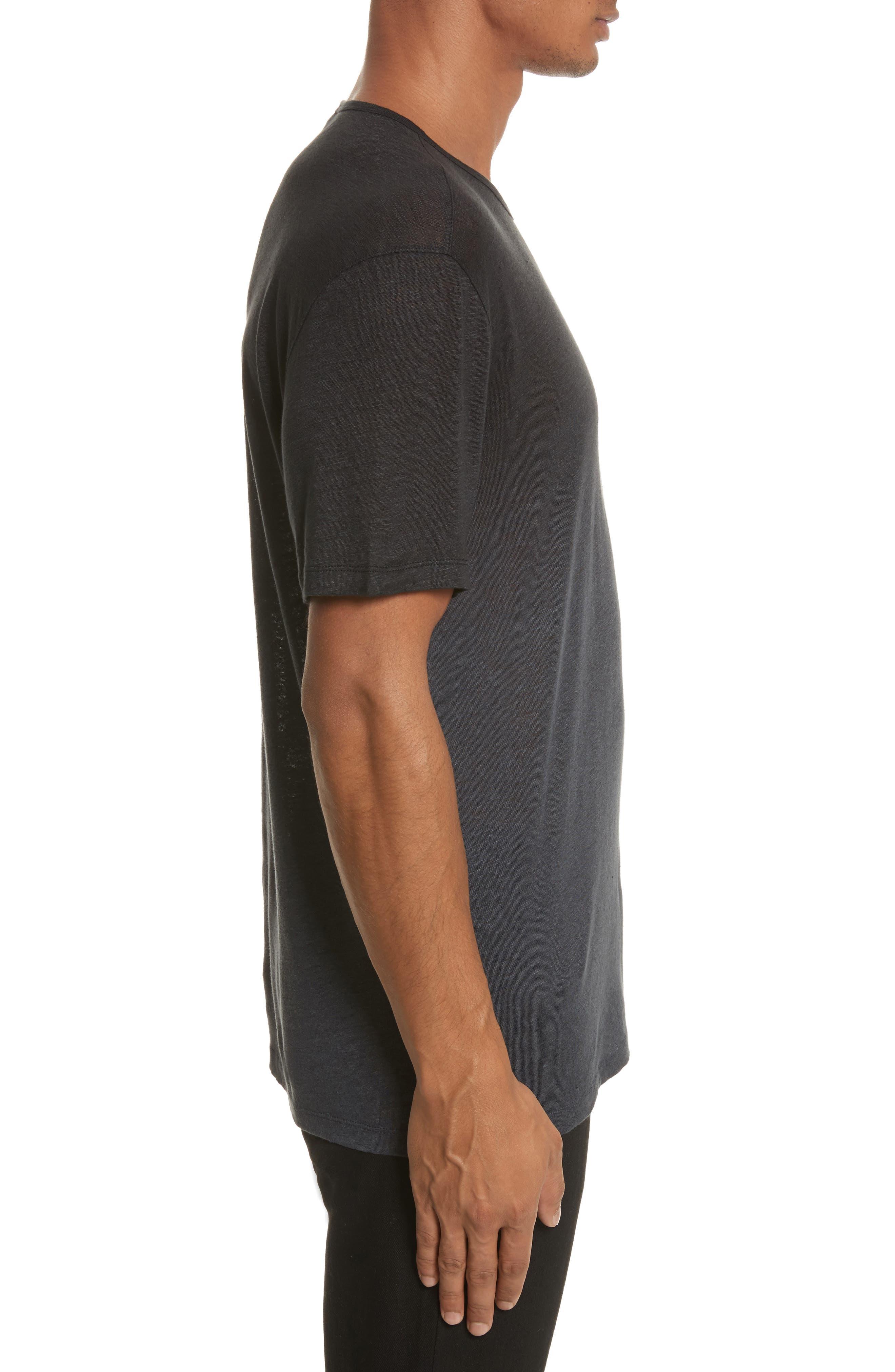 Dip Dyed Linen T-Shirt,                             Alternate thumbnail 3, color,                             001