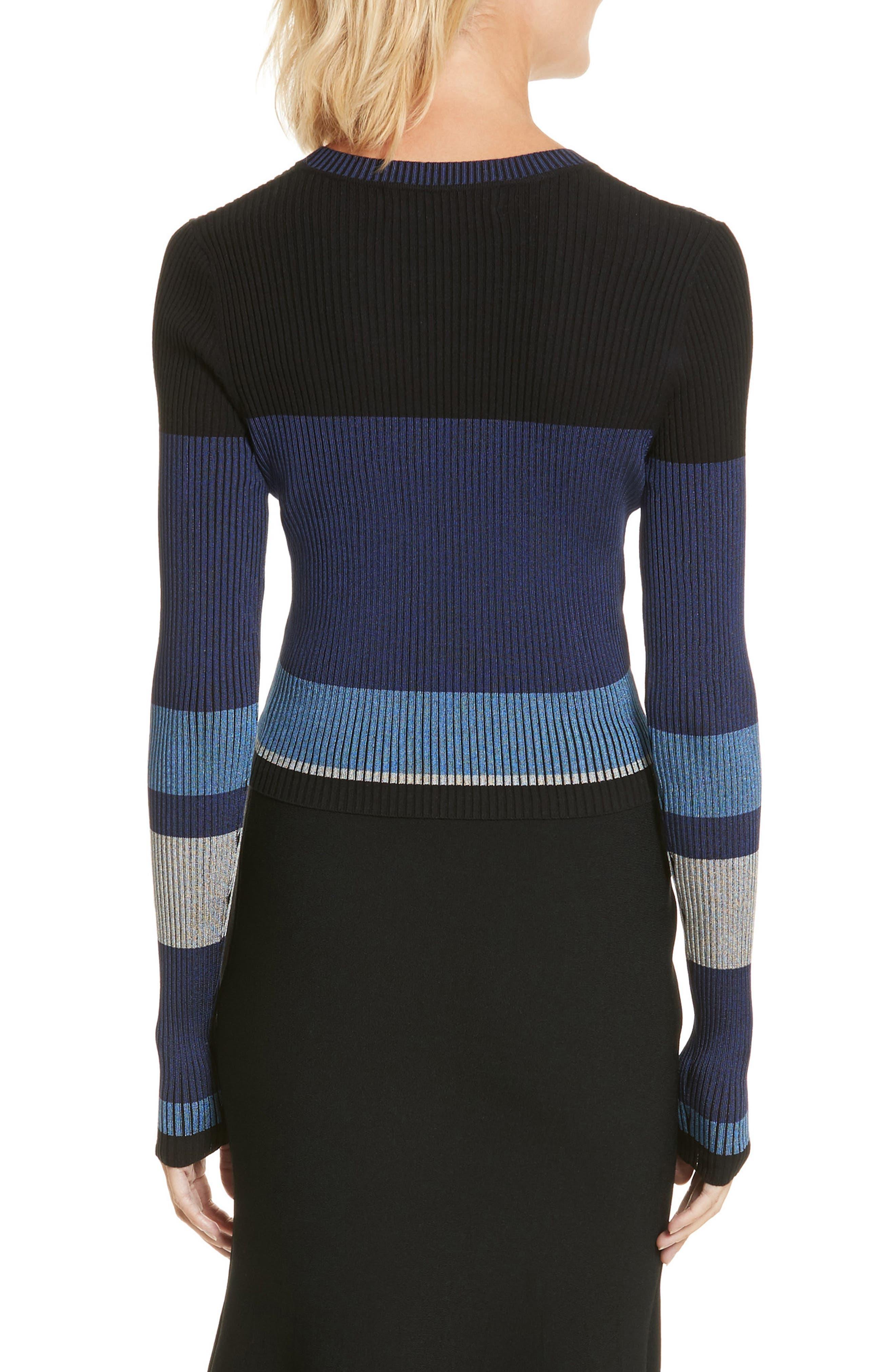 Diane von Furstenberg Cropped Plaited Pullover,                             Alternate thumbnail 4, color,