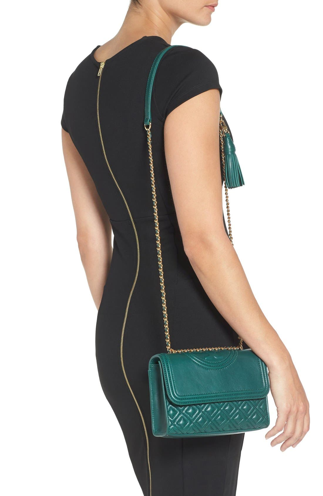 'Small Fleming' Quilted Leather Shoulder Bag,                             Alternate thumbnail 7, color,