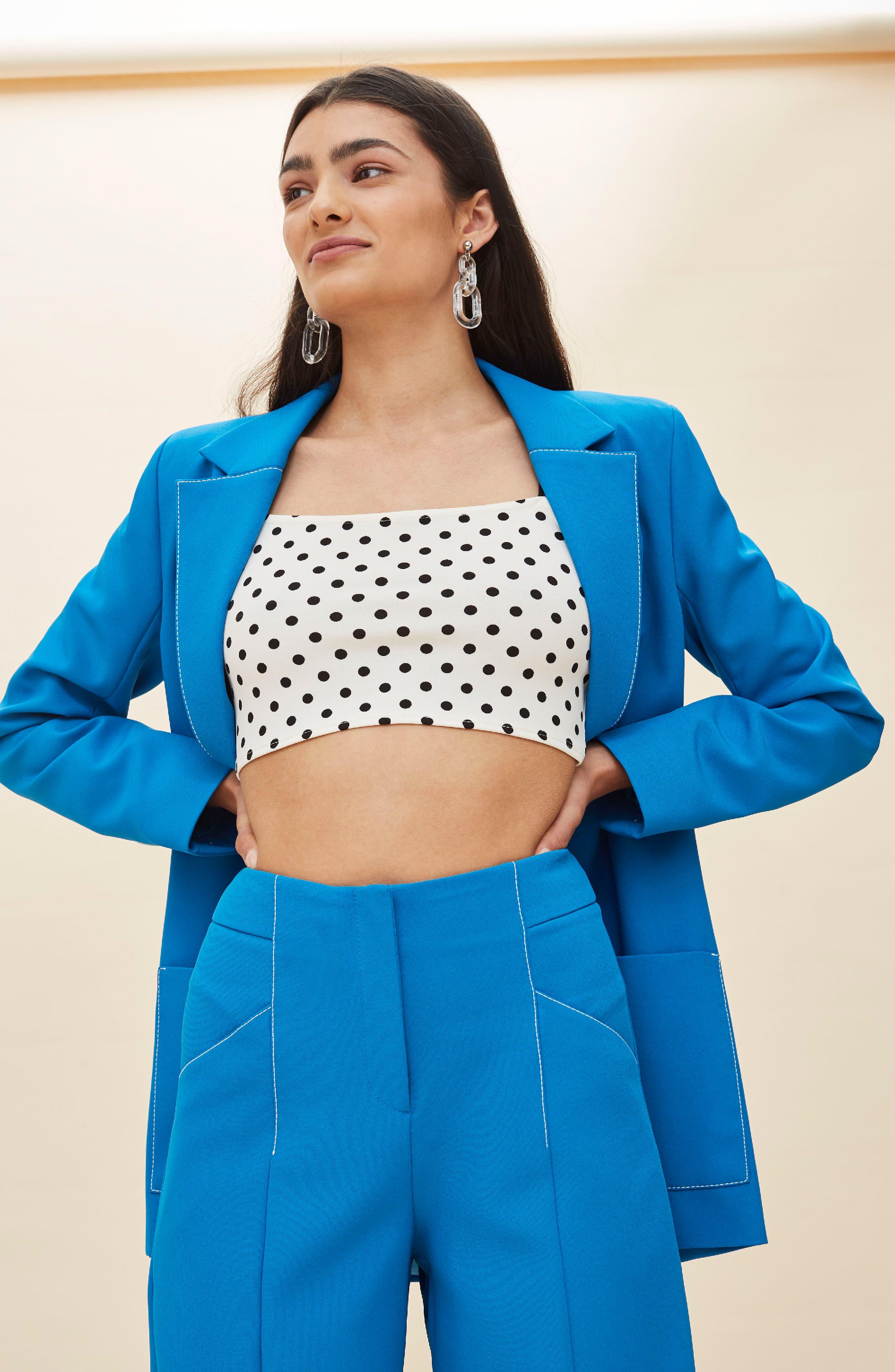 Azure Contrast Stitch Suit Jacket,                             Alternate thumbnail 5, color,