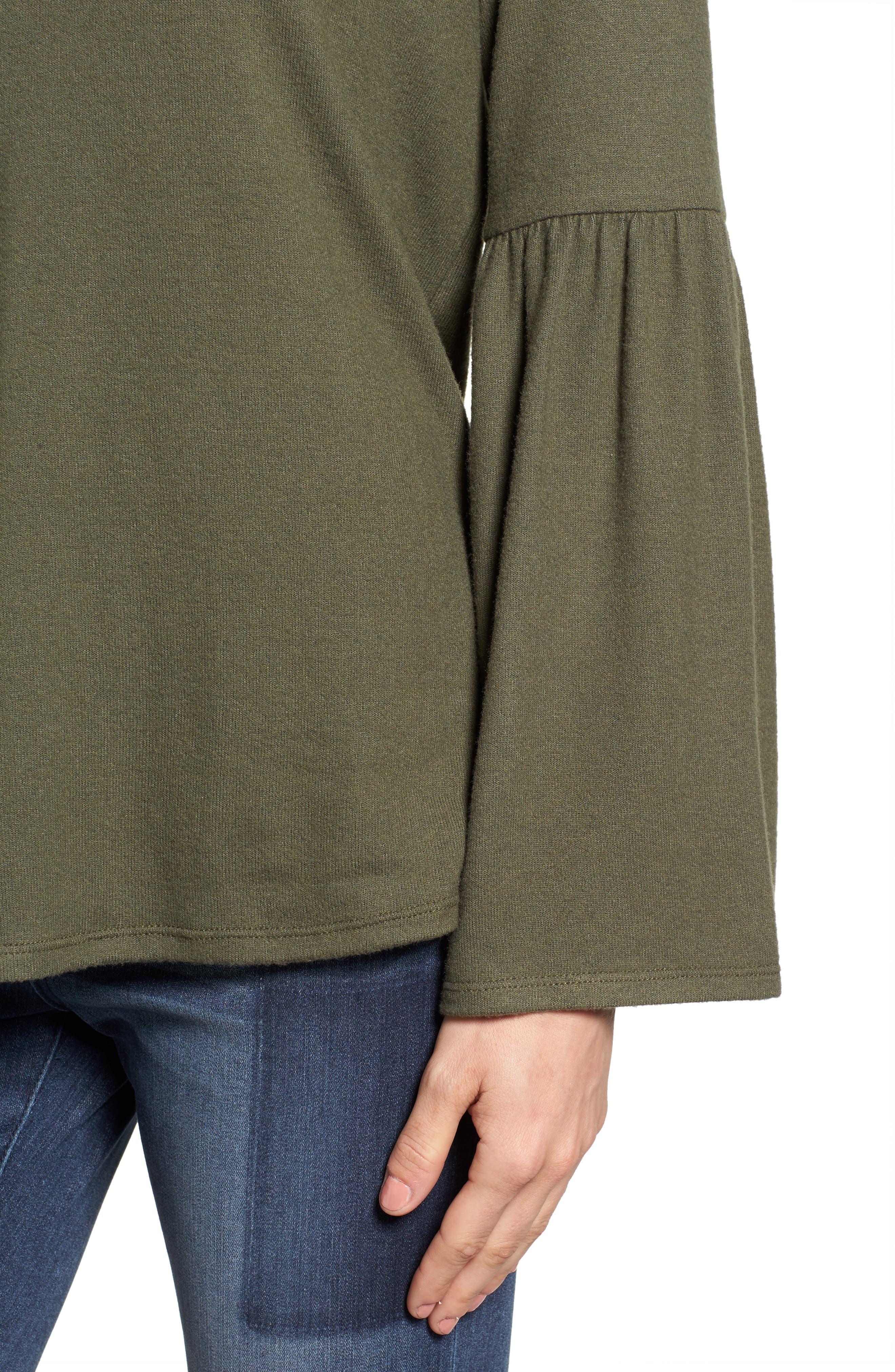 Bell Sleeve Cozy Fleece Pullover,                             Alternate thumbnail 44, color,