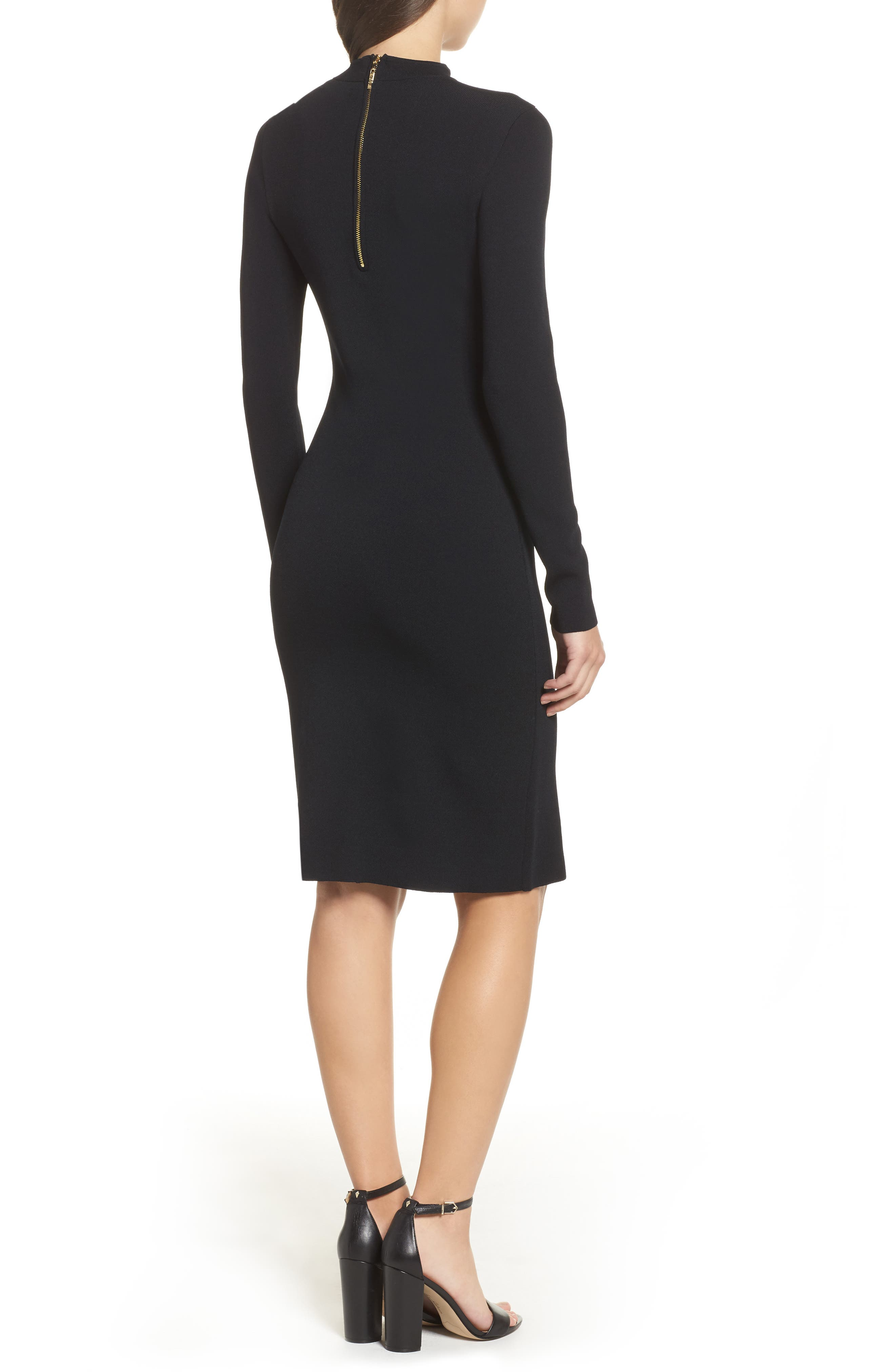Choker Collar Sheath Dress,                             Alternate thumbnail 2, color,                             001