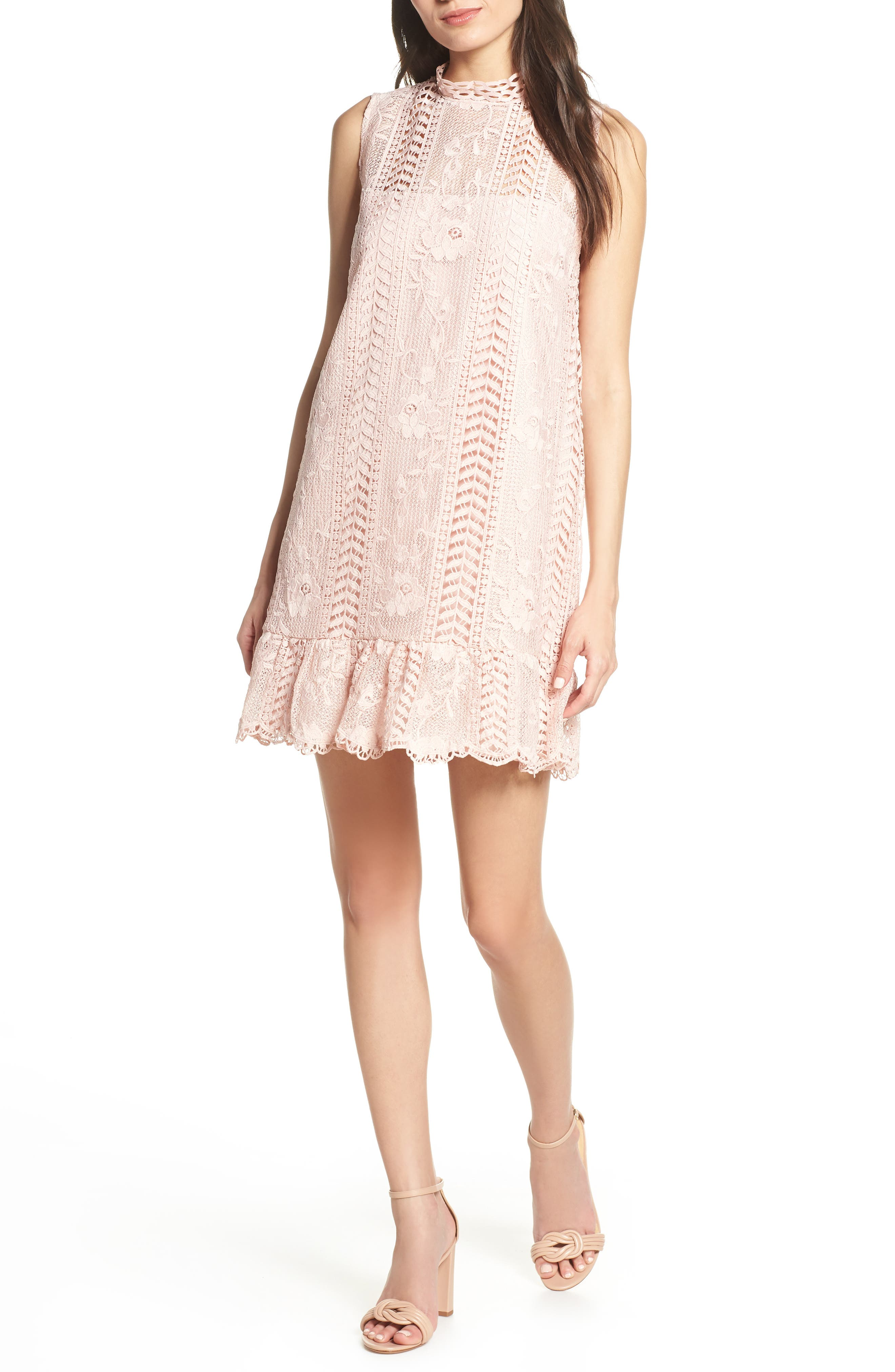 Bb Dakota Sheri Mock Neck Sleeveless Lace Mini Shift Dress, Pink