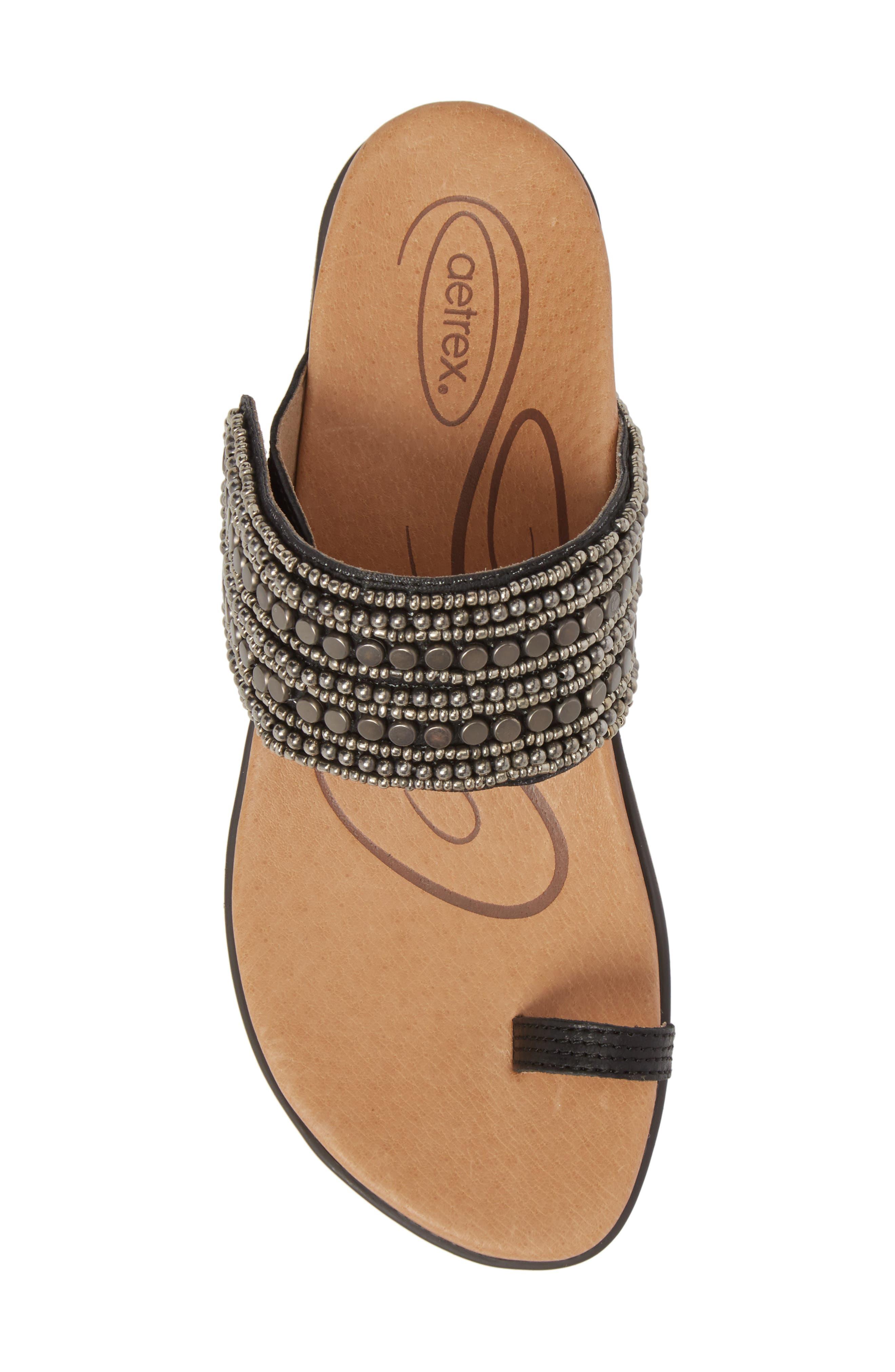 Layla Embellished Slide Sandal,                             Alternate thumbnail 5, color,                             001