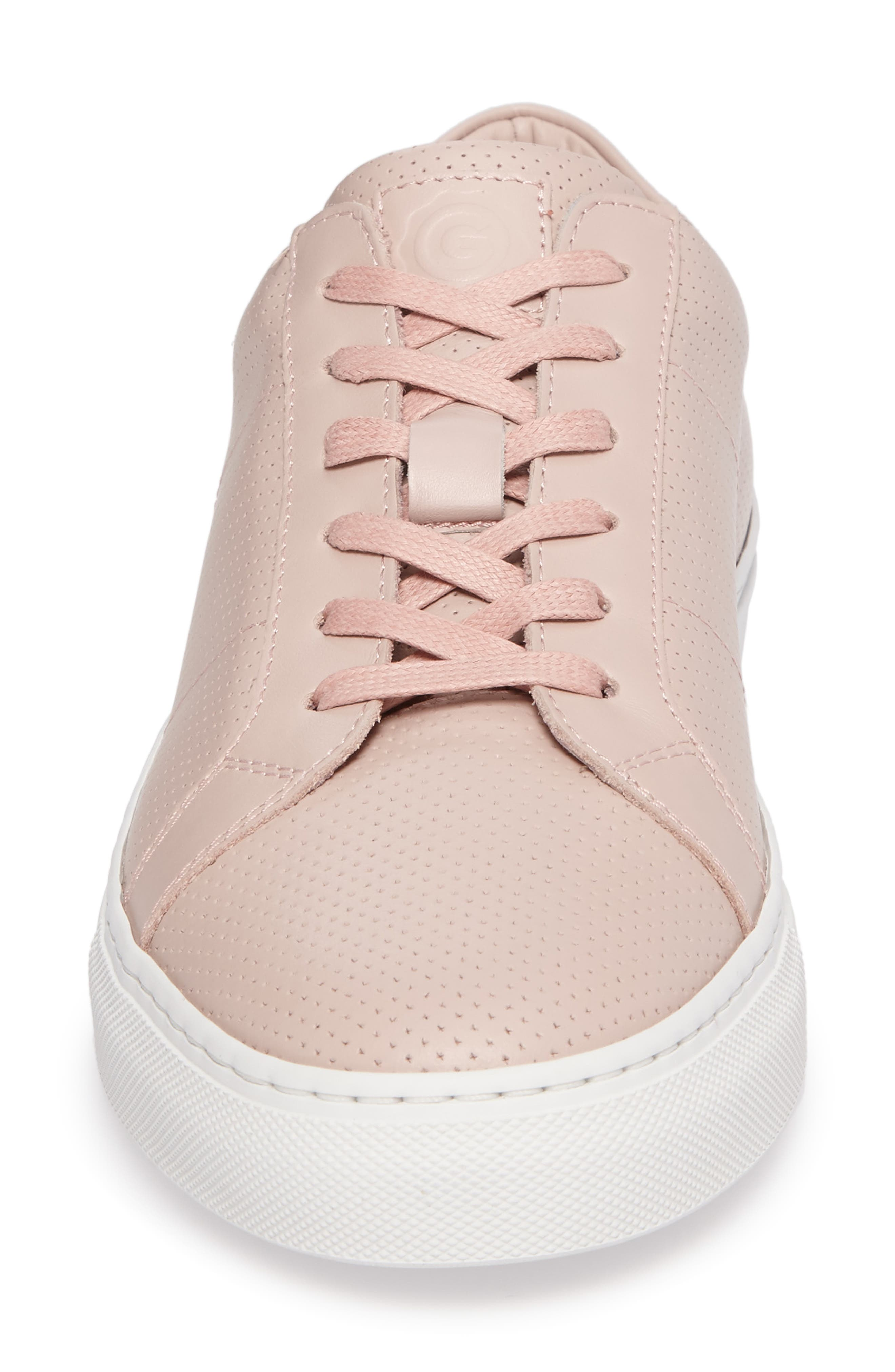 Royale Perforated Low Top Sneaker,                             Alternate thumbnail 4, color,                             BLUSH PERFORATED LEATHER