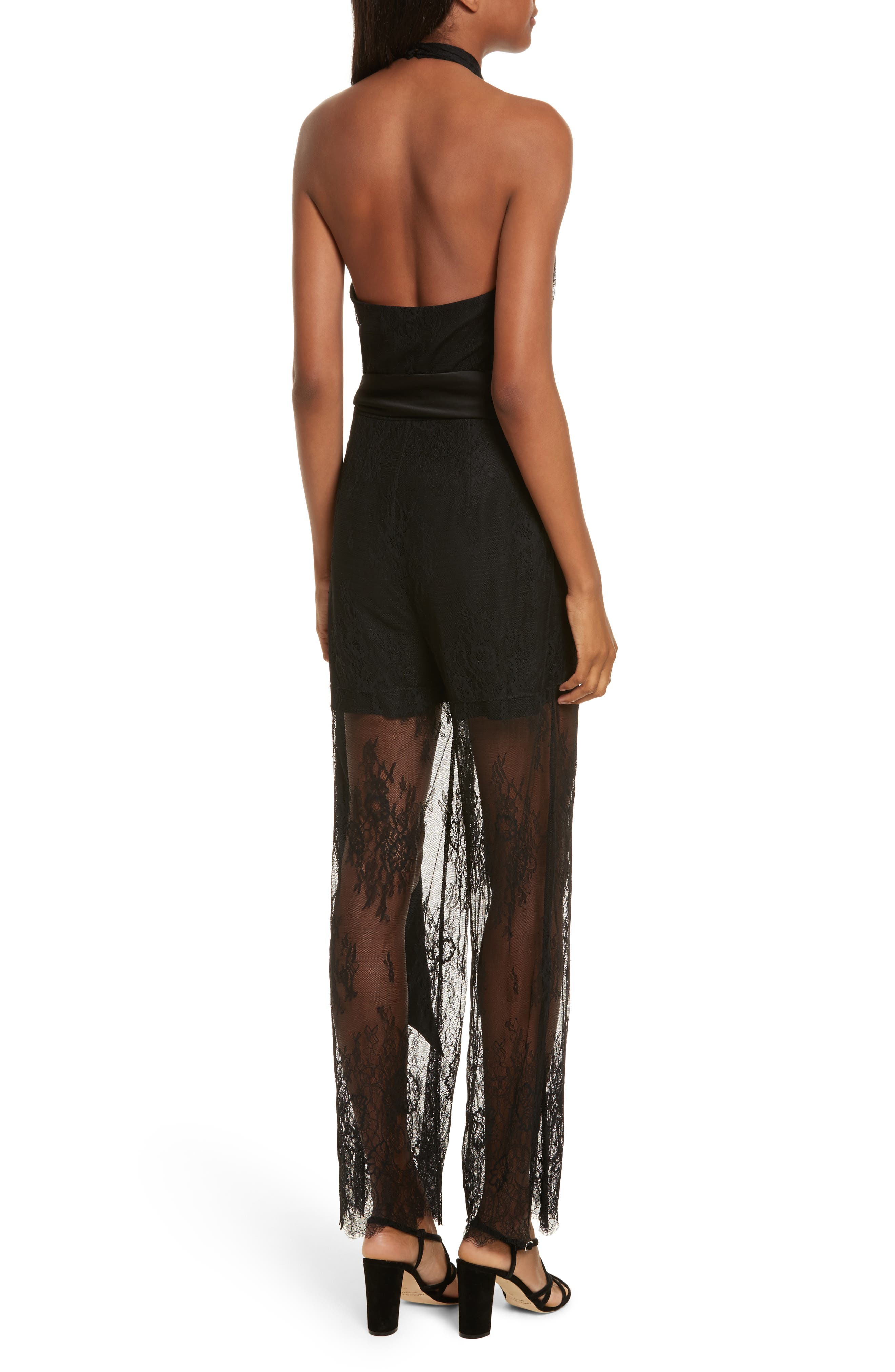 Diane von Furstenberg Halter Neck Lace Jumpsuit,                             Alternate thumbnail 2, color,                             001