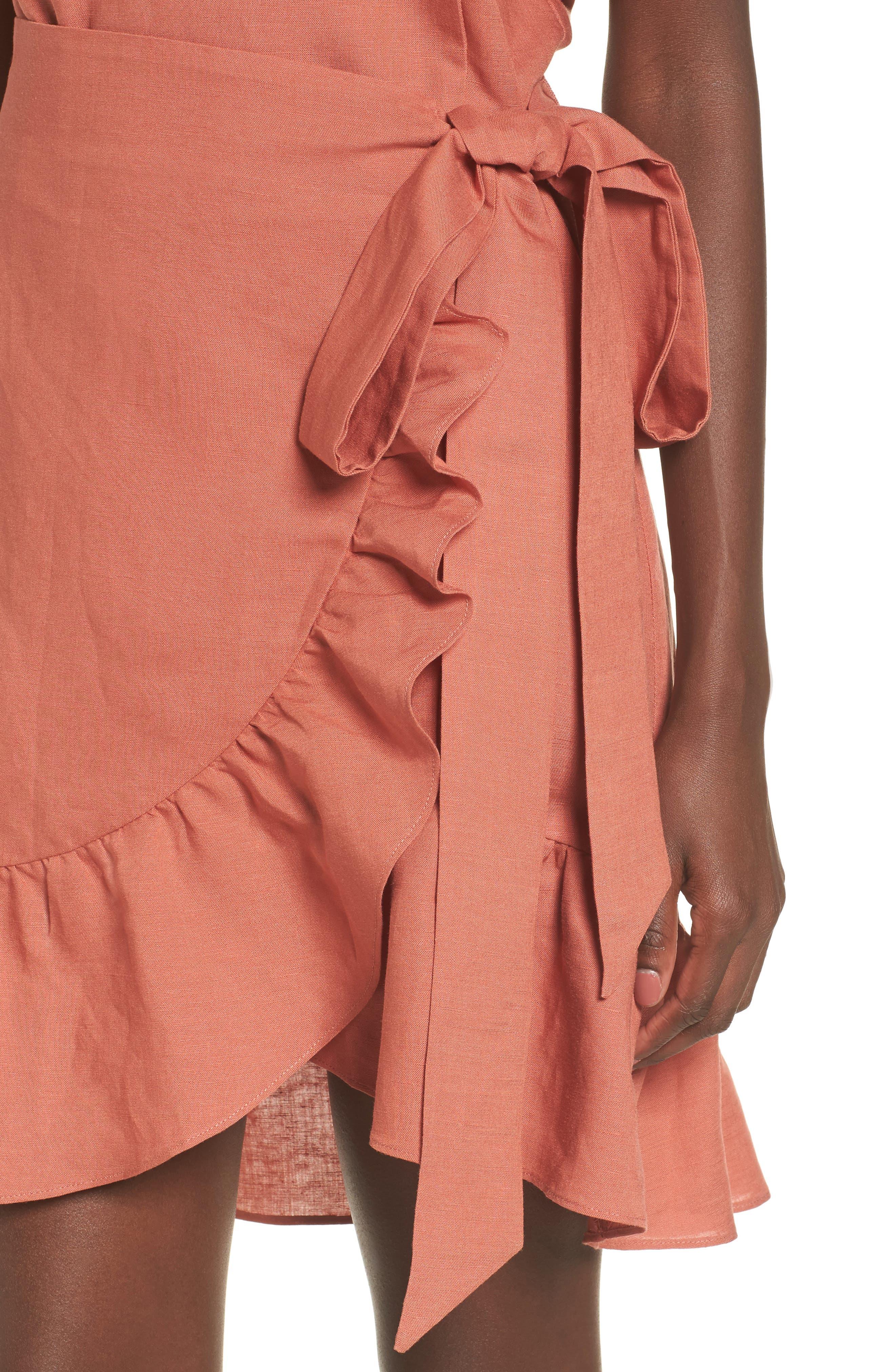 Ruffle Linen Blend Wrap Dress,                             Alternate thumbnail 8, color,