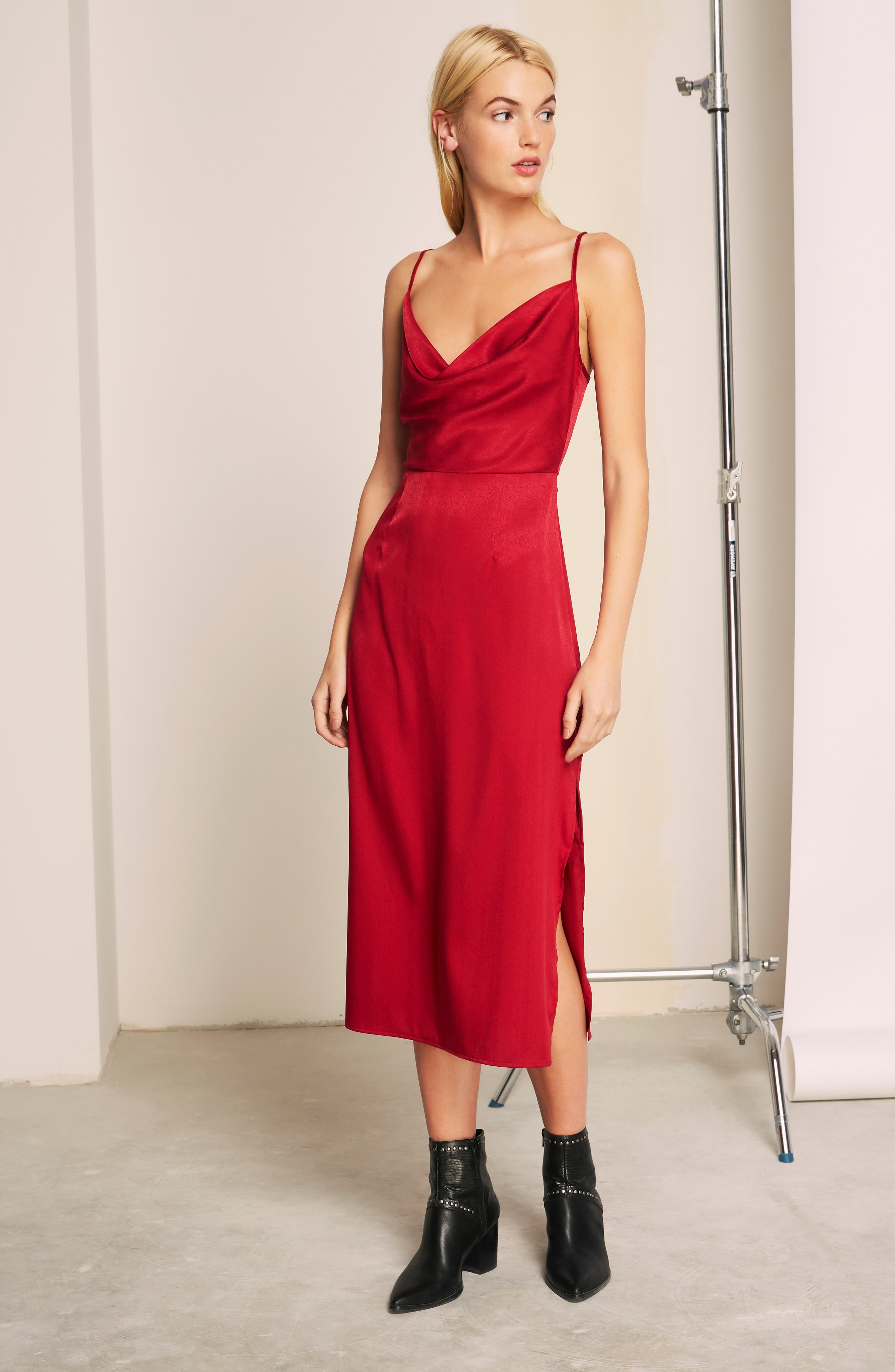 Lotti Cowl Neck Midi Dress,                             Alternate thumbnail 8, color,                             CHERRY