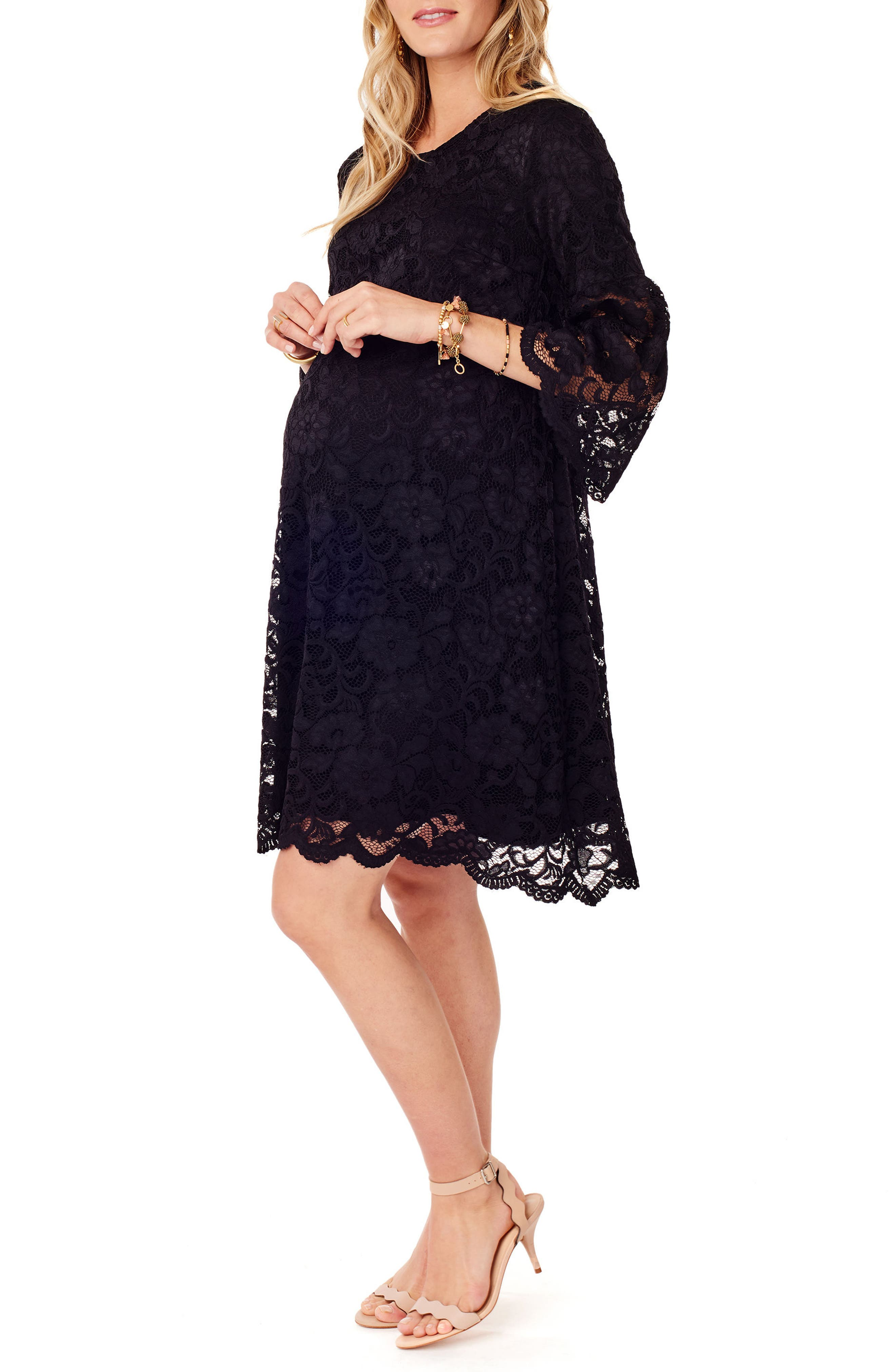 Lace Bell Sleeve Maternity Dress,                             Alternate thumbnail 3, color,                             006