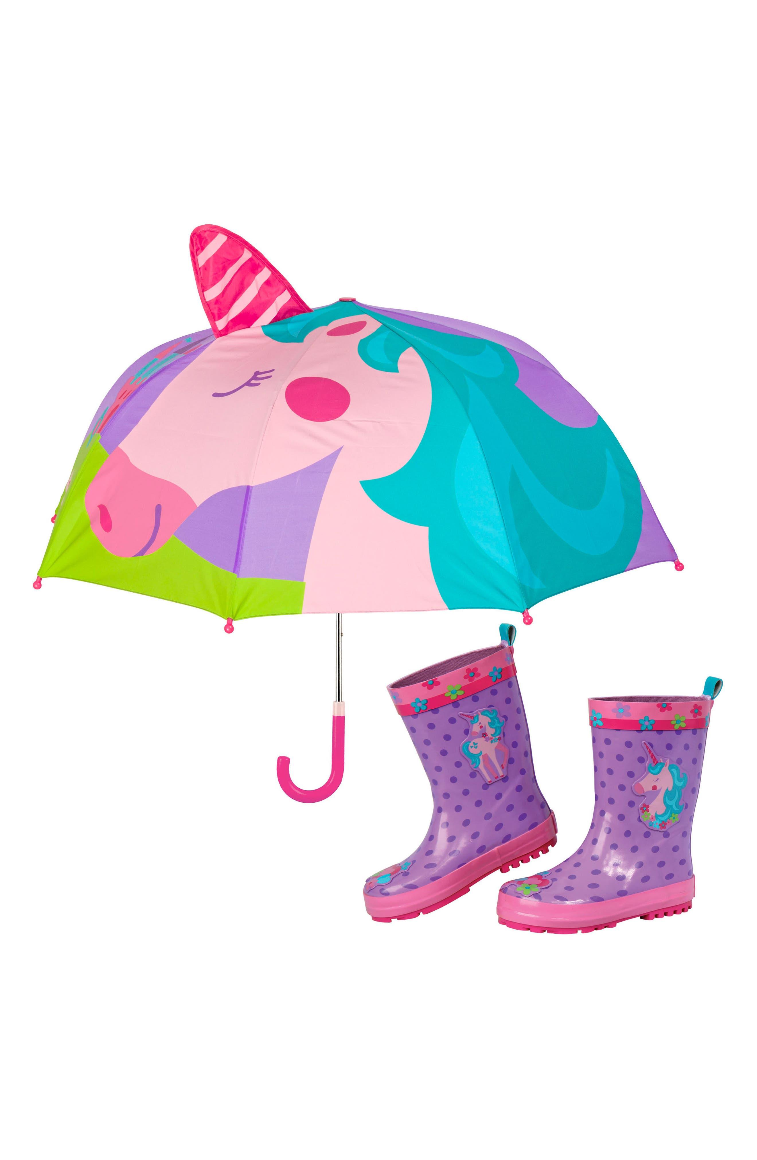 Stephen Joseph Print Rain Boots  Umbrella Set  Purple