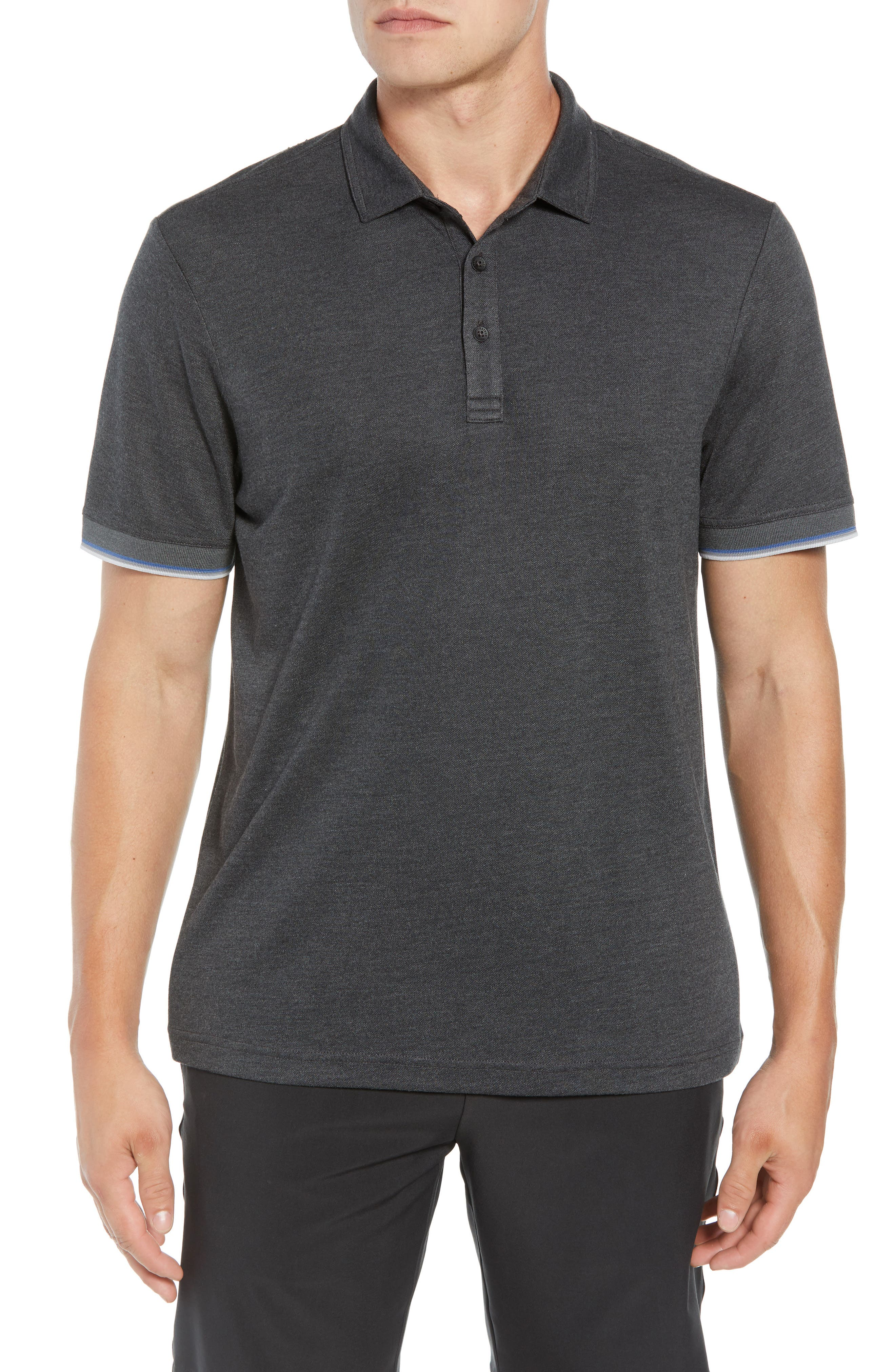Mag Bay Polo,                         Main,                         color, BLACK/ GREY PINSTRIPE