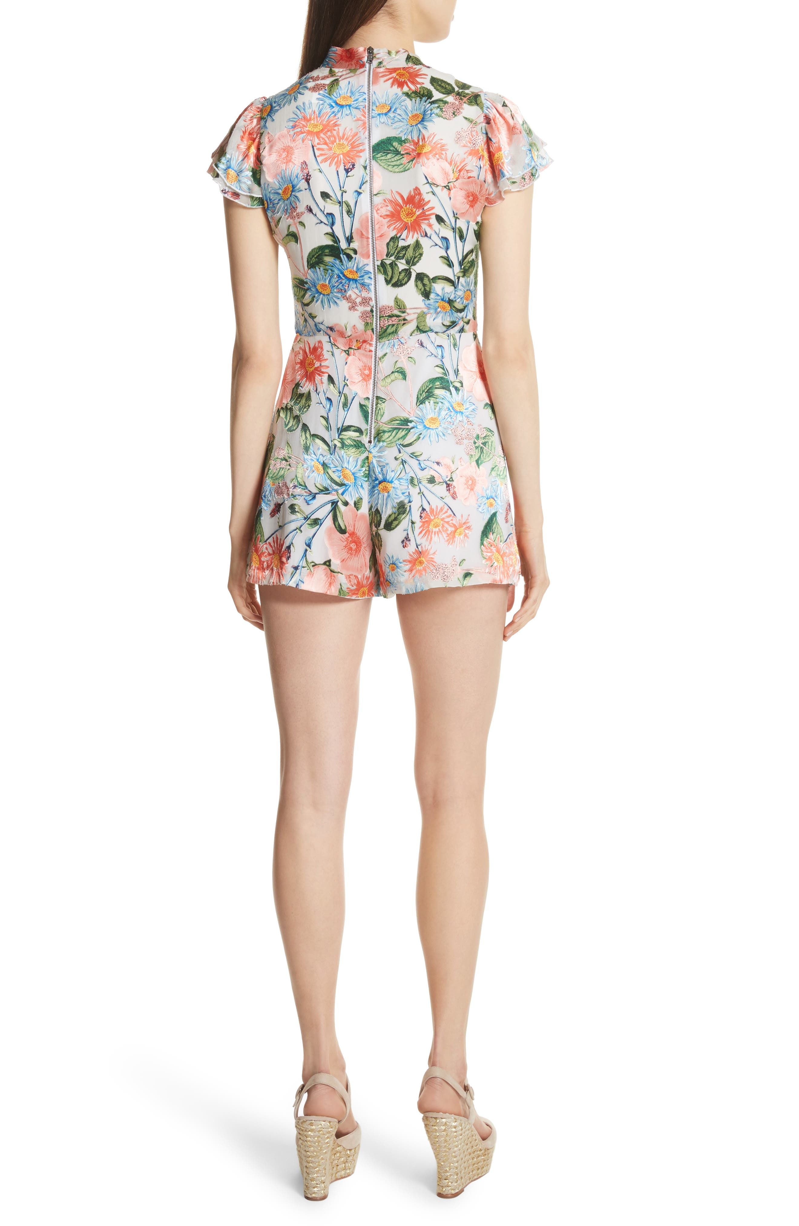 Macall Floral Ruffle Sleeve Romper,                             Alternate thumbnail 2, color,                             400