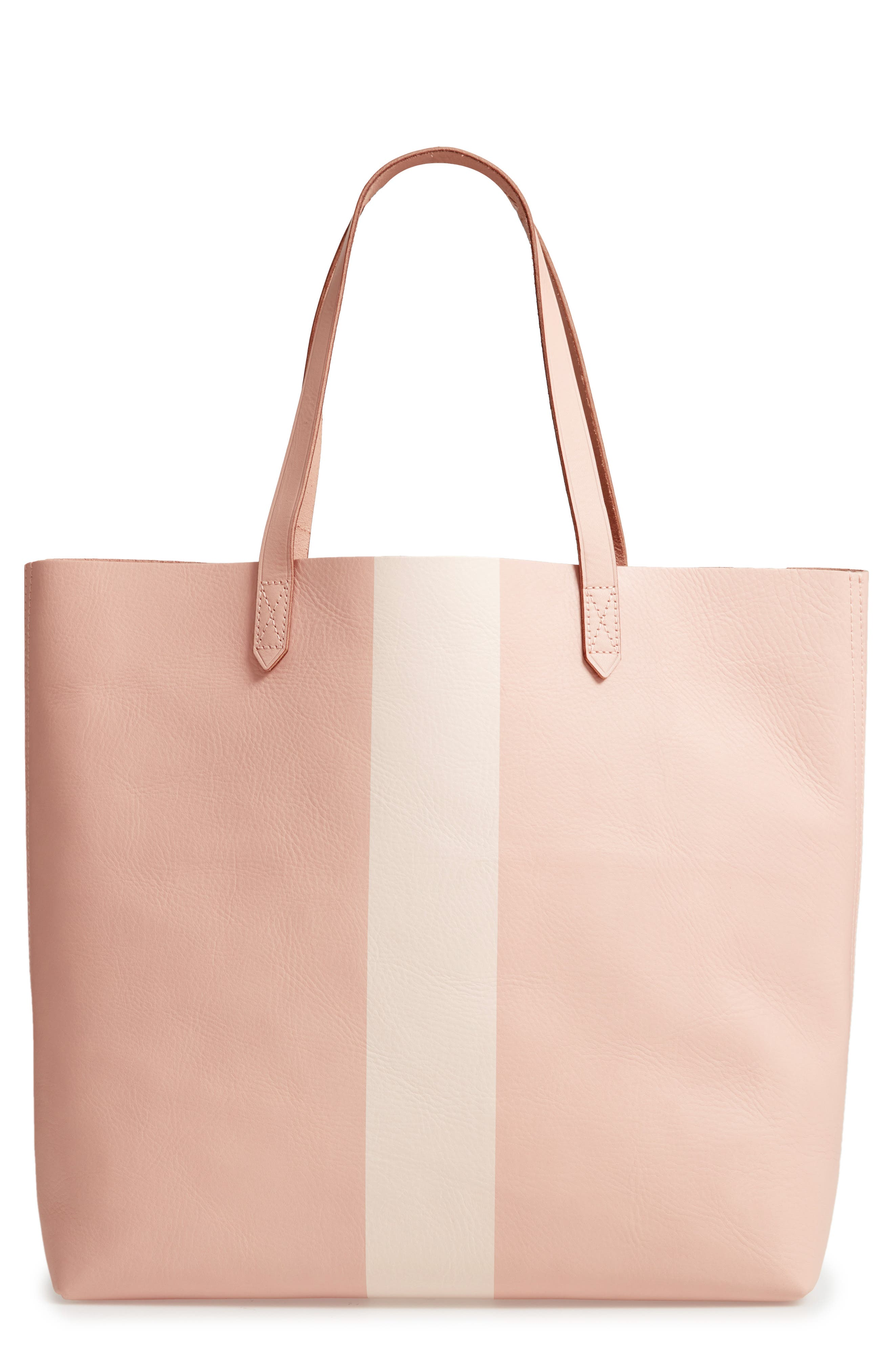 Paint Stripe Transport Leather Tote,                         Main,                         color, SHEER PINK STRIPE
