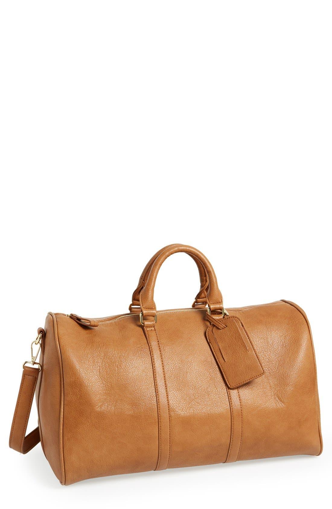'Cassidy' Faux Leather Duffel Bag,                         Main,                         color, COGNAC