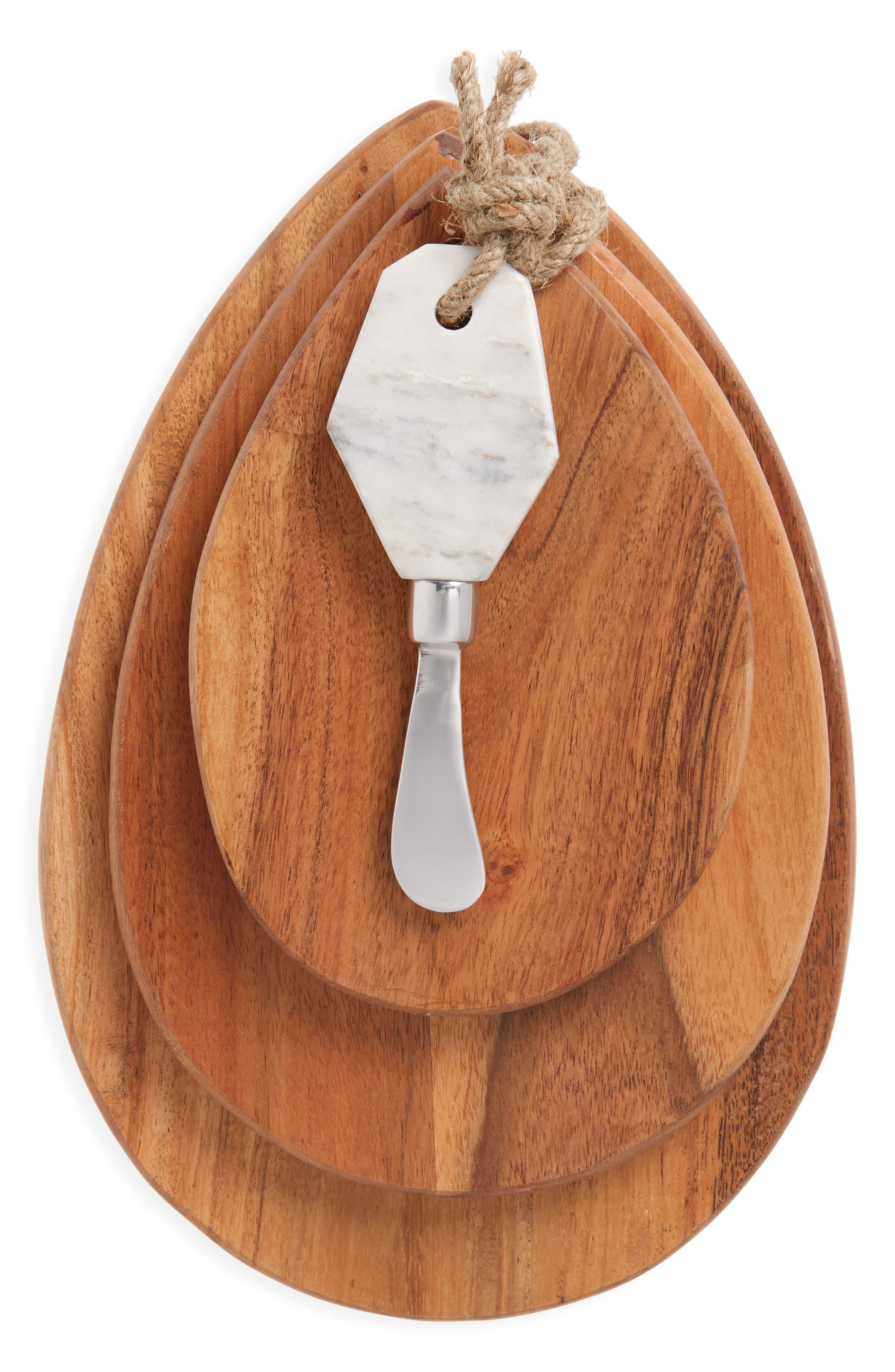 Set of 3 Acacia Wood Cheese Boards & Marble Knife,                             Main thumbnail 1, color,                             200