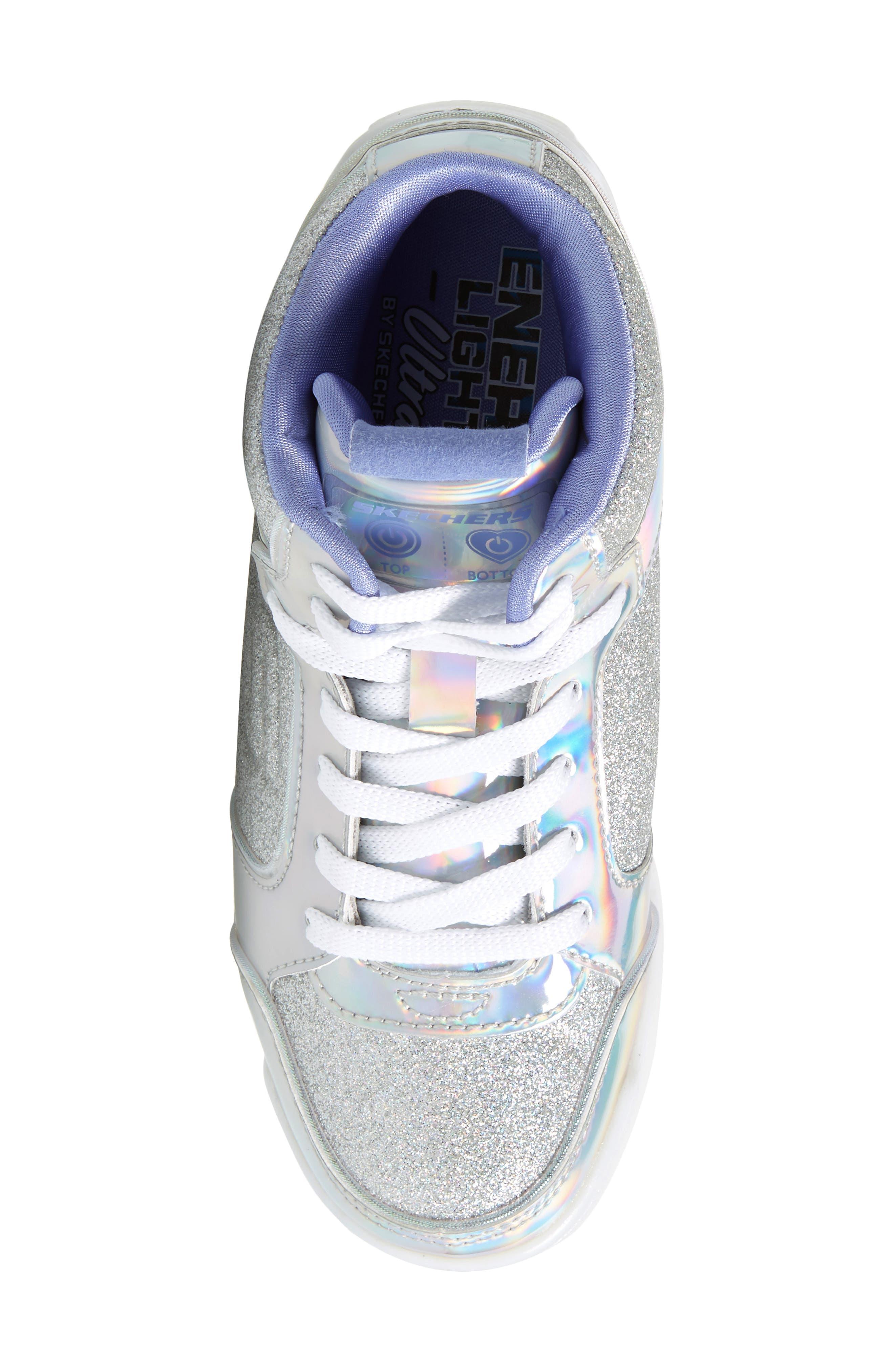 SKECHERS,                             Energy Lights Pro Ultra Light-Up Sneaker,                             Alternate thumbnail 5, color,                             SILVER