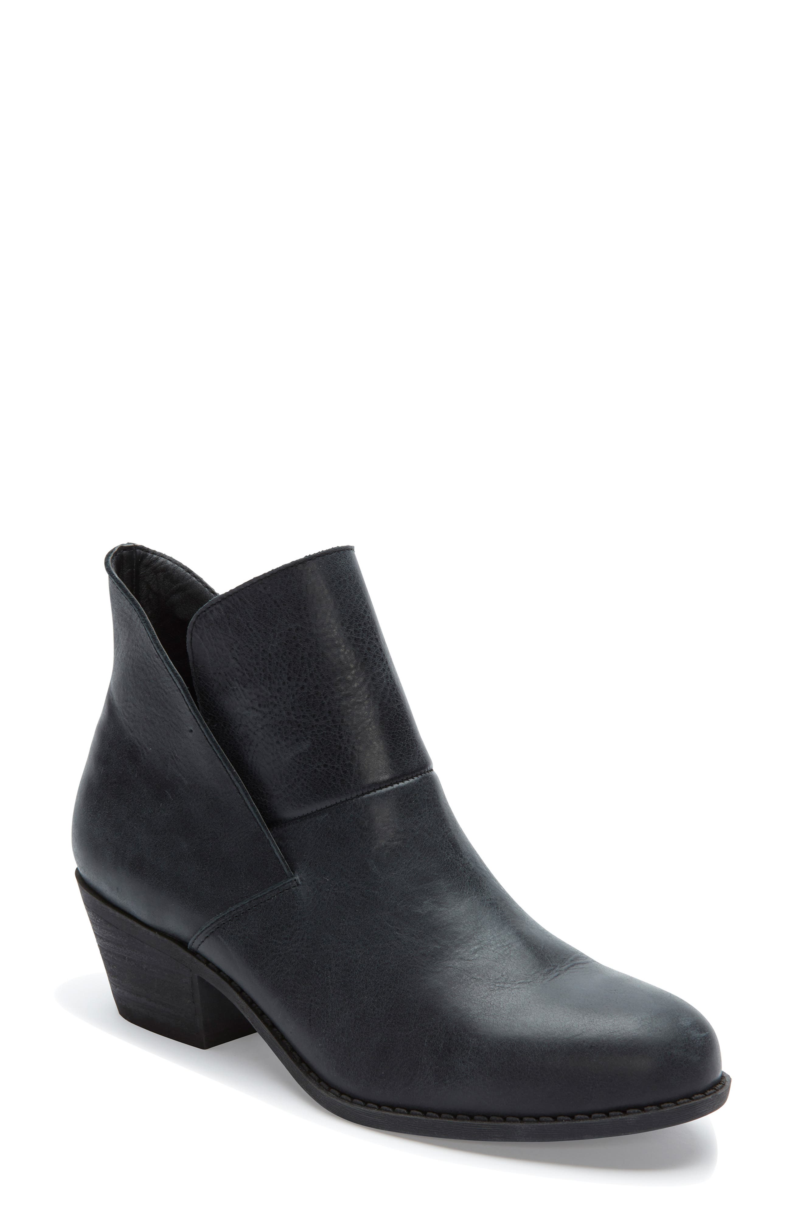 Me Too Zena Ankle Boot,                         Main,                         color, BLACK LEATHER