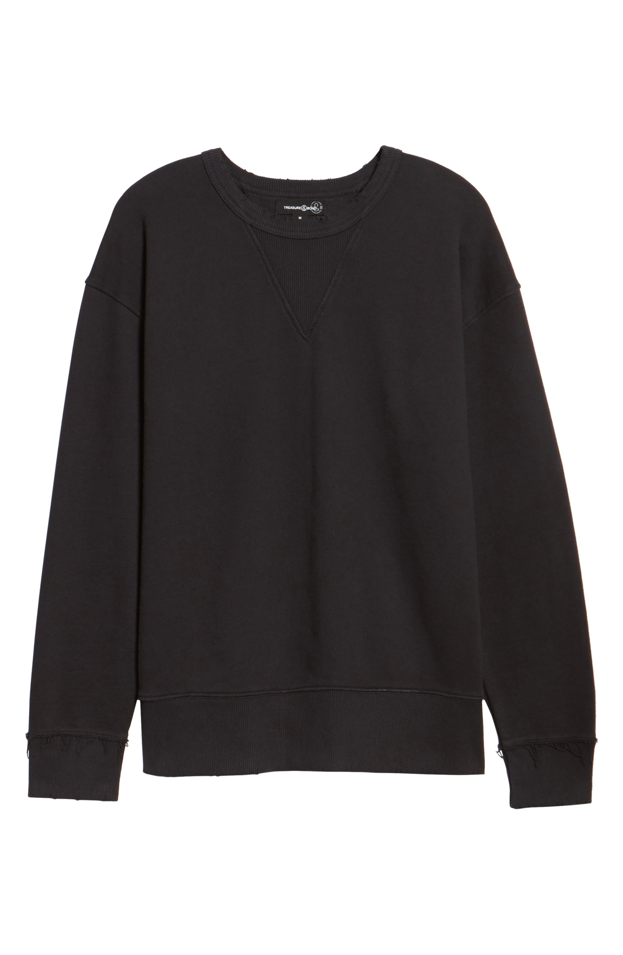 Distressed Sweatshirt,                             Alternate thumbnail 6, color,                             001