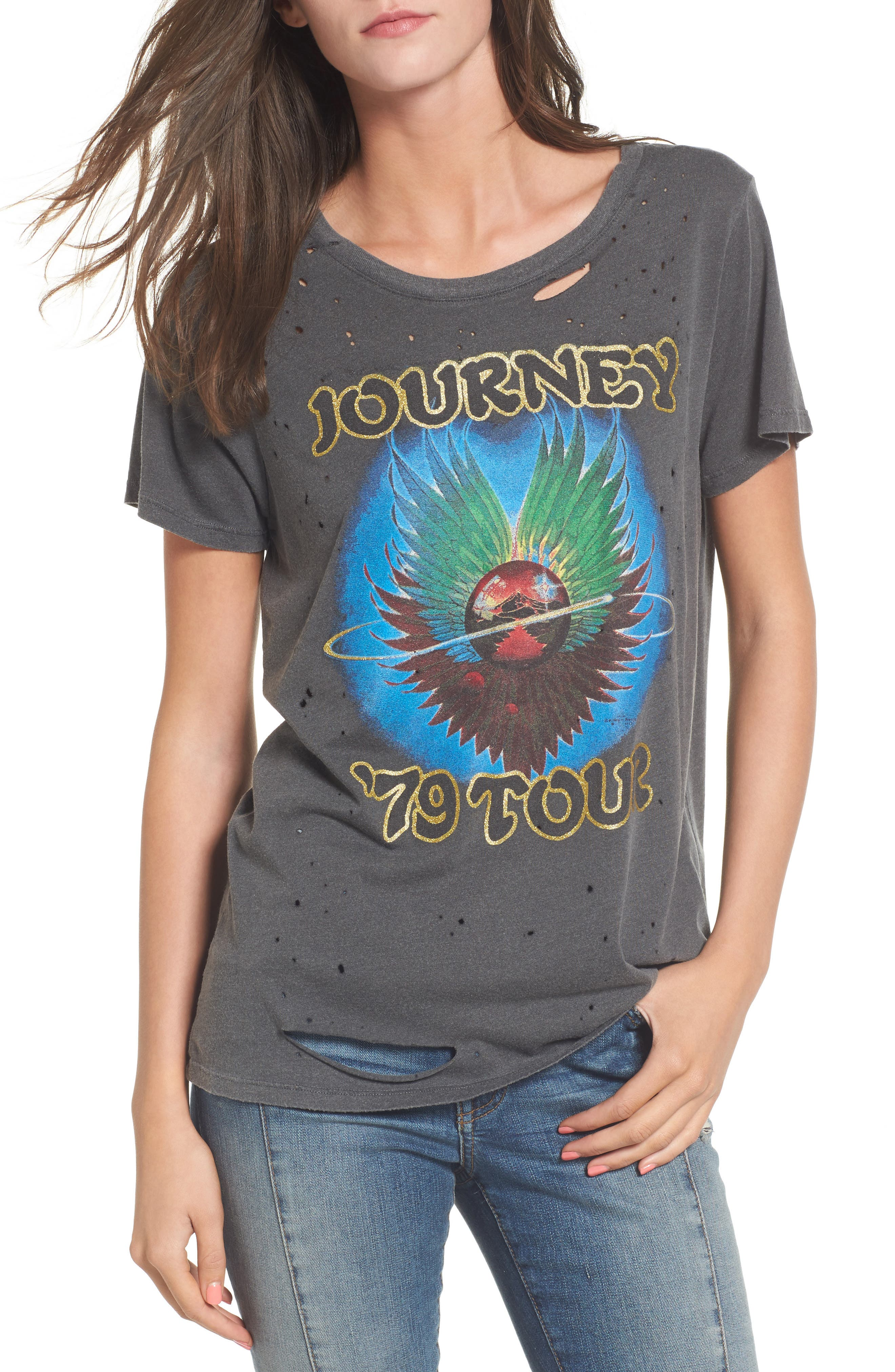 Journey Ripped Graphic Tee,                             Main thumbnail 1, color,                             001