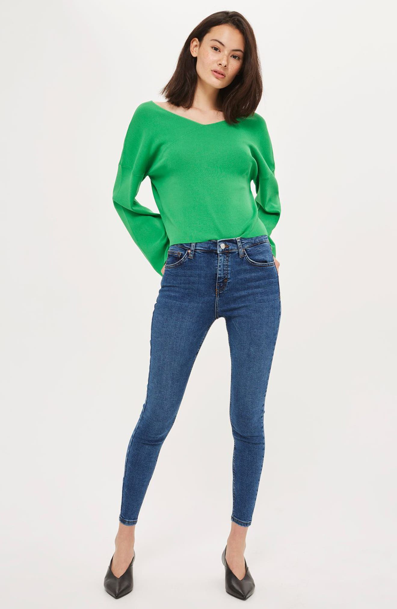 Jamie High Waist Skinny Jeans,                             Alternate thumbnail 6, color,                             MID DENIM