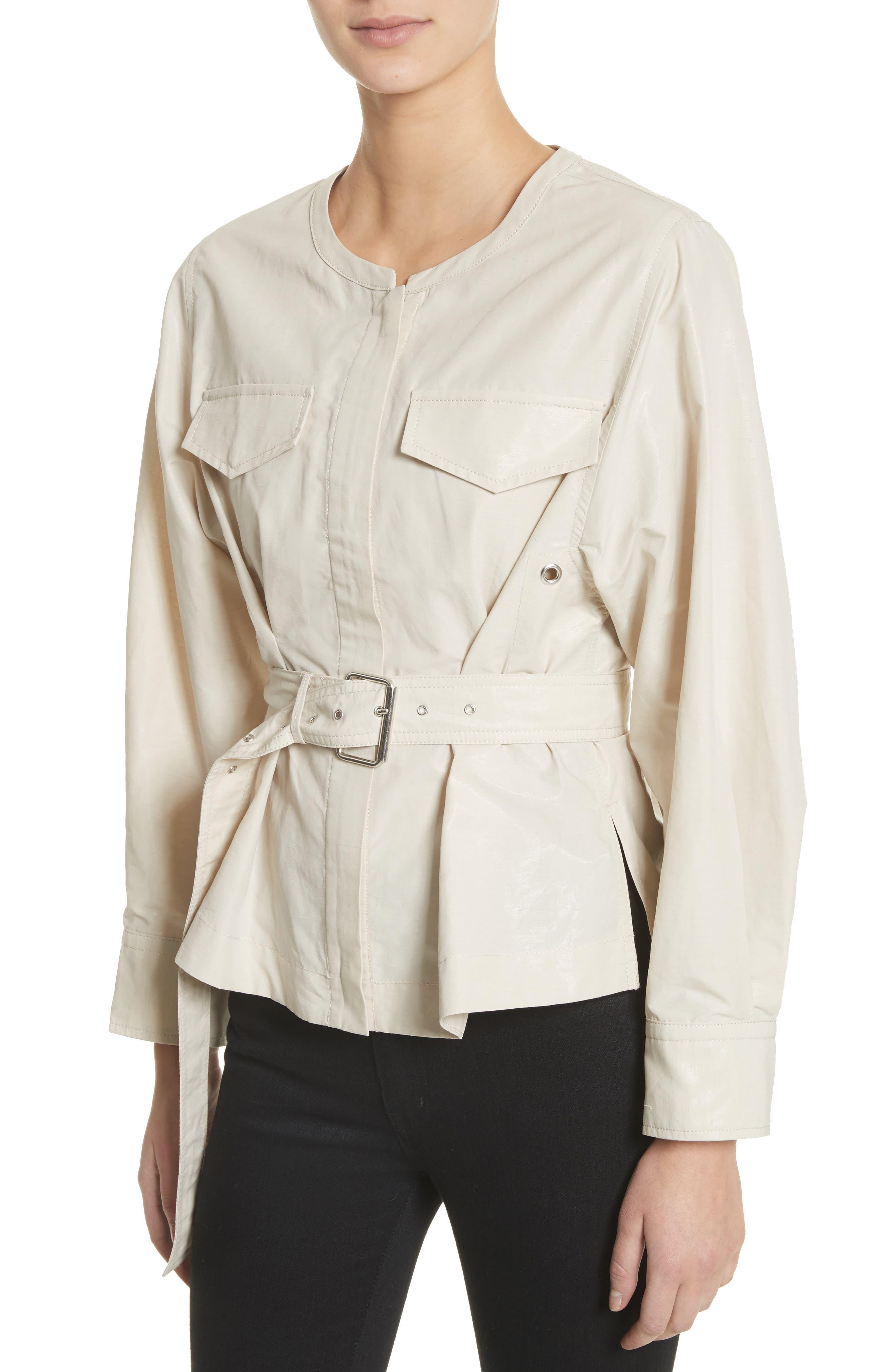 Hacene Cotton & Linen Crop Jacket,                             Alternate thumbnail 4, color,                             250