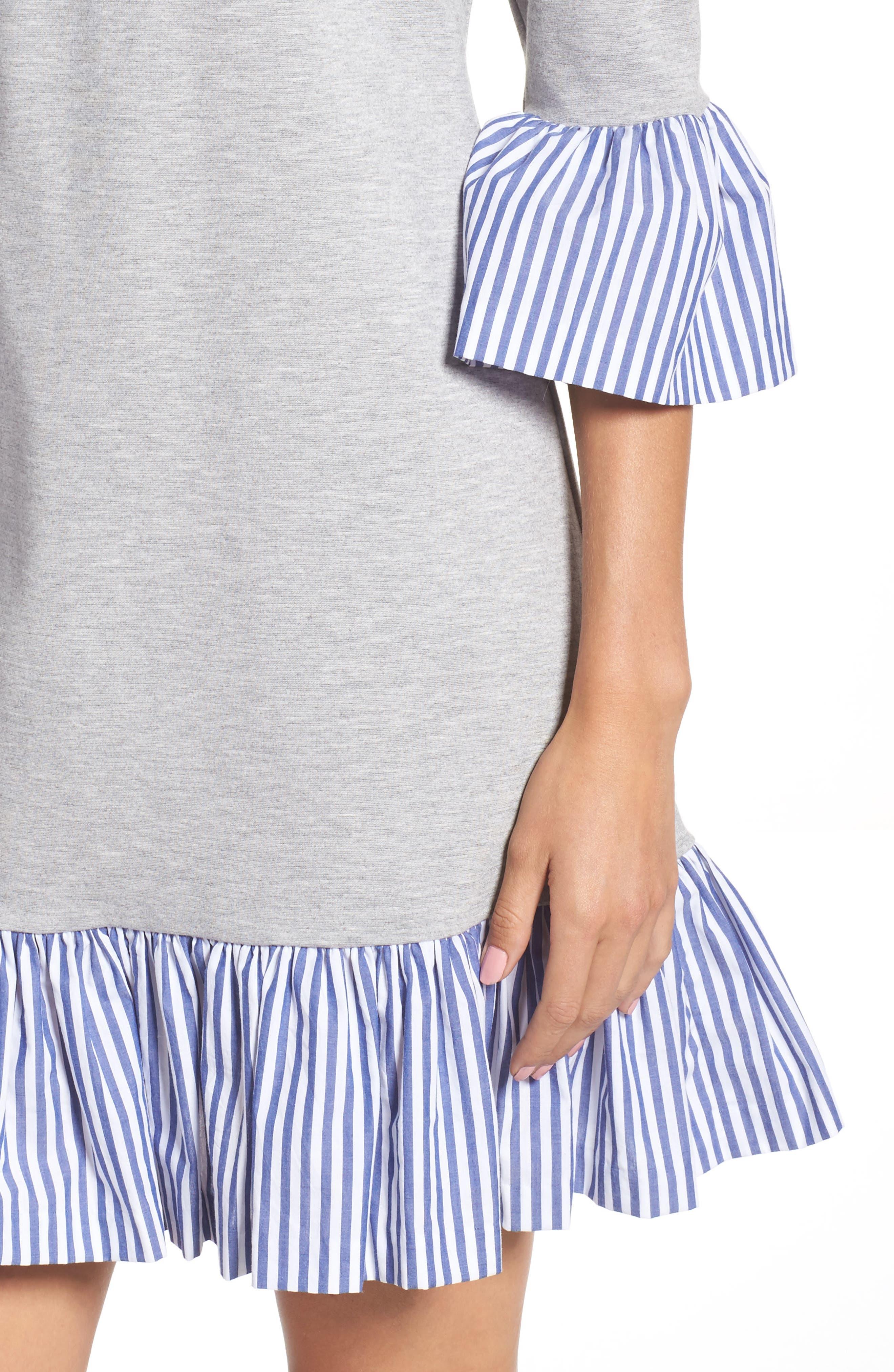 Flounce Hem Sweatshirt Dress,                             Alternate thumbnail 4, color,                             030