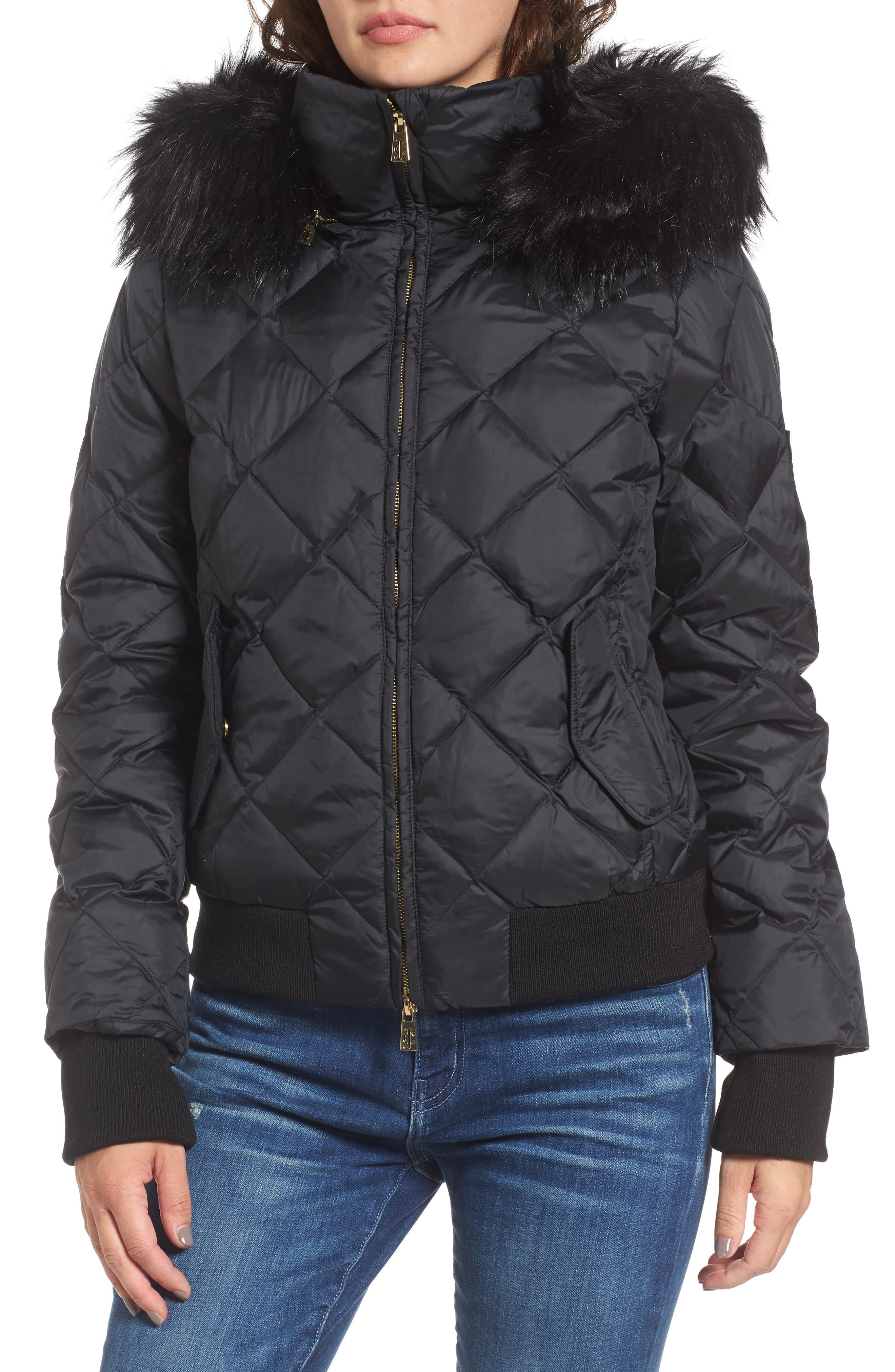 Hooded Puffer Jacket with Faux Fur Trim,                             Alternate thumbnail 4, color,                             009