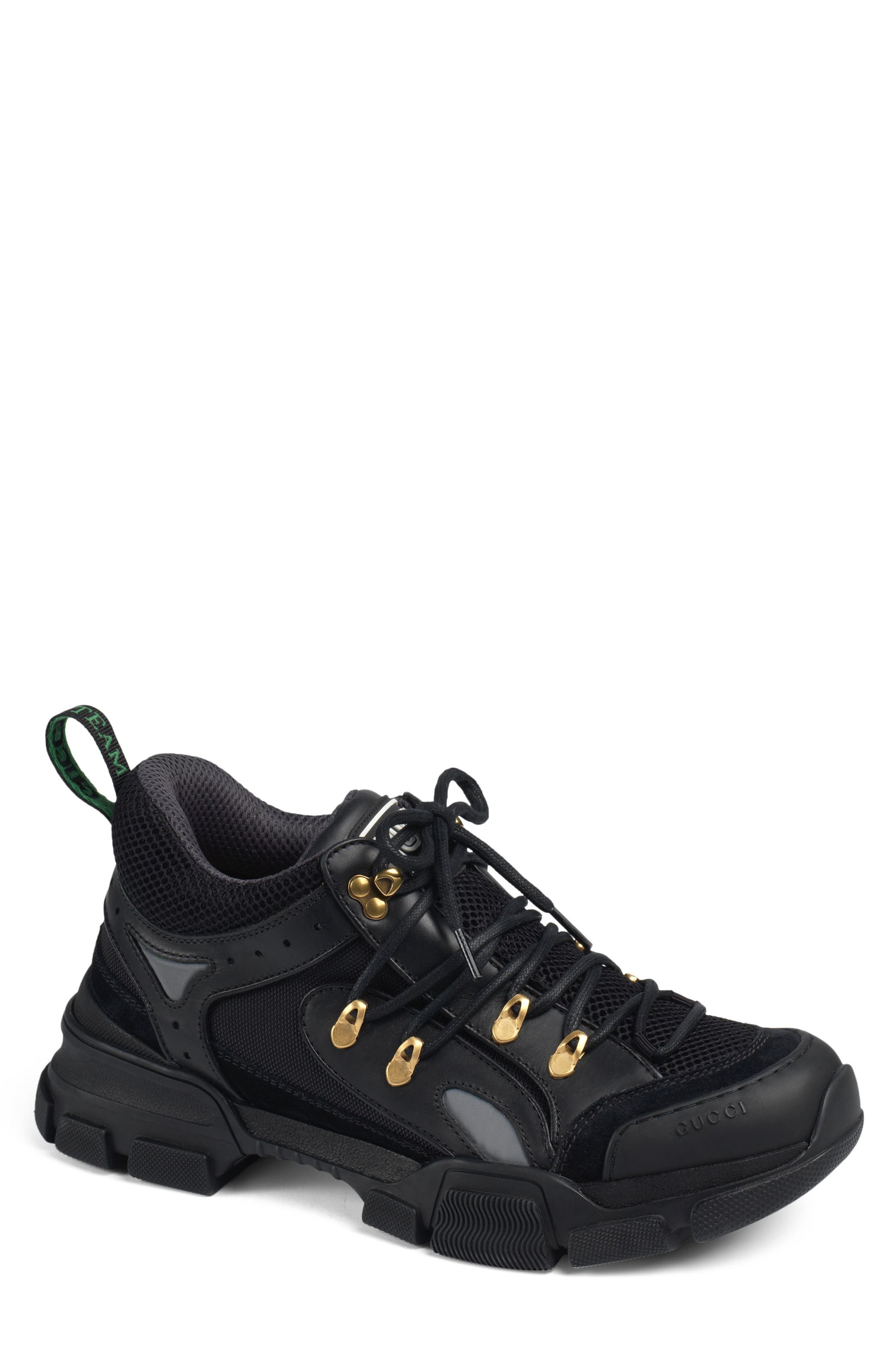 Leather and Canvas Sneaker,                             Main thumbnail 1, color,                             NERO/ NERO