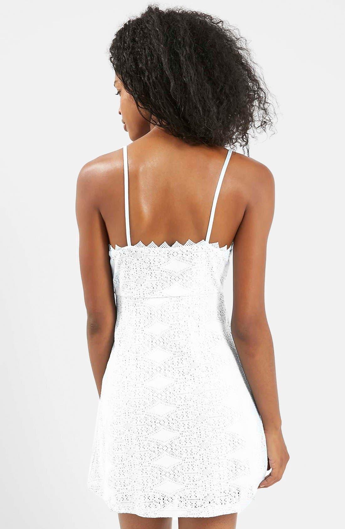 TOPSHOP,                             Crochet Dress,                             Alternate thumbnail 4, color,                             900