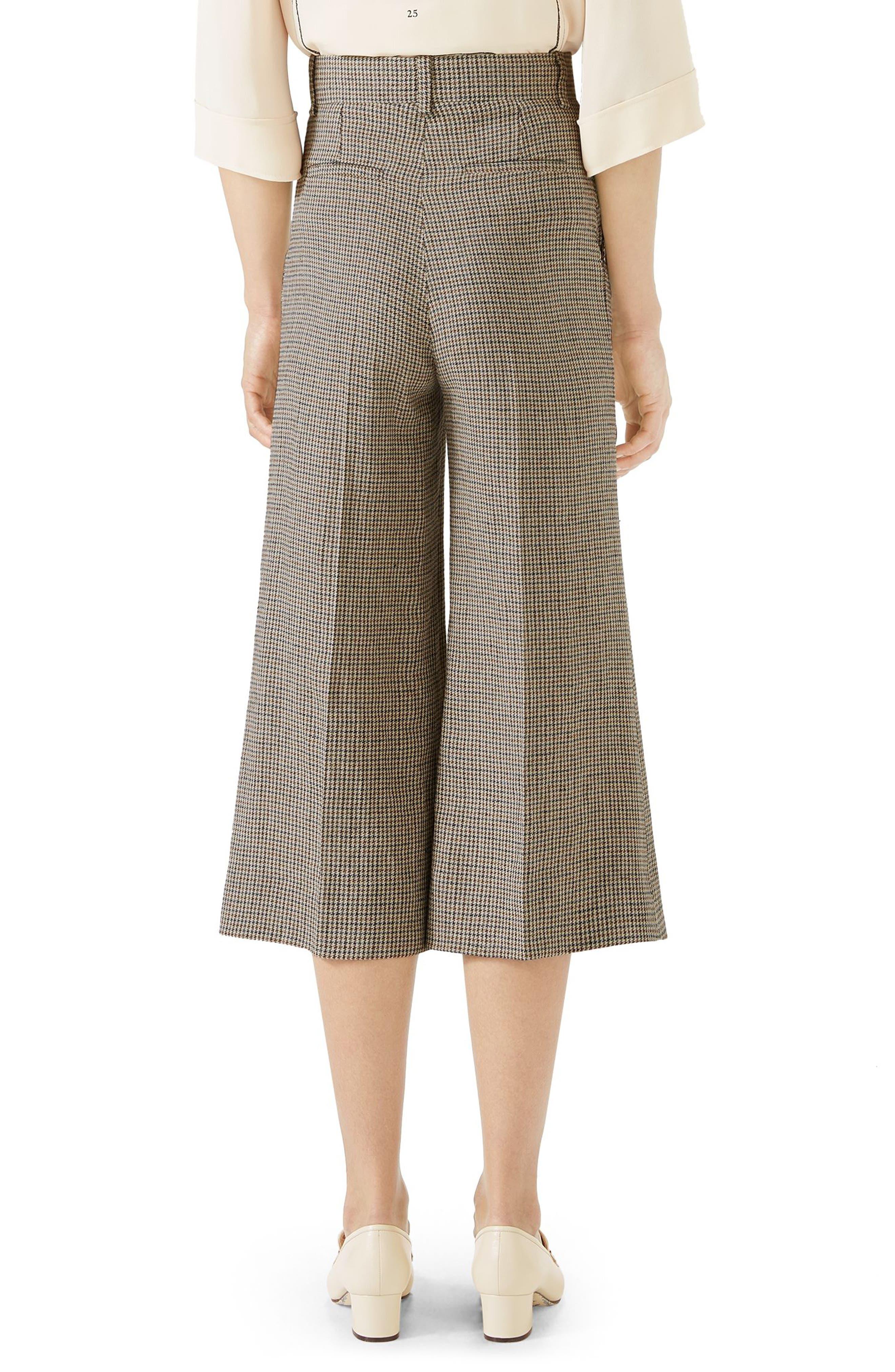 Houndstooth Wide Leg Crop Linen Pants,                             Alternate thumbnail 2, color,                             BEIGE/ BRUN DEGARANCE