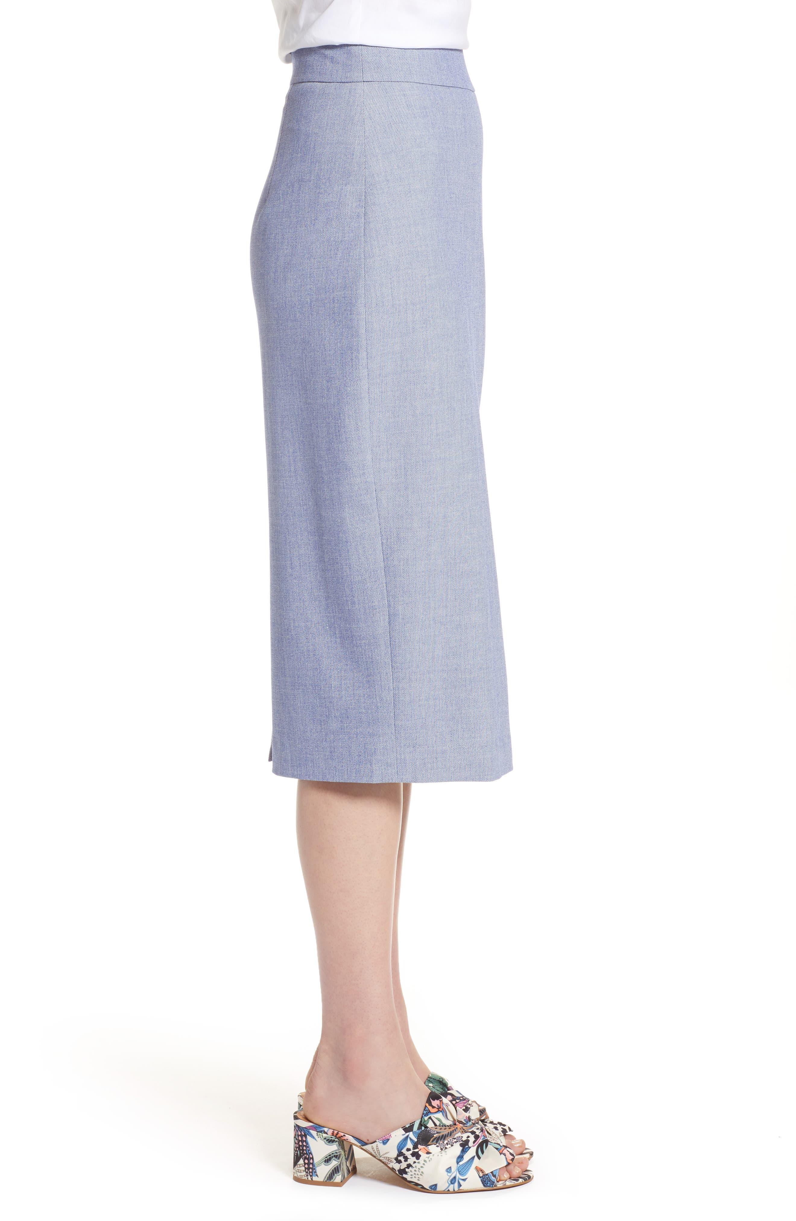 High Waist Chambray Skirt,                             Alternate thumbnail 3, color,                             400