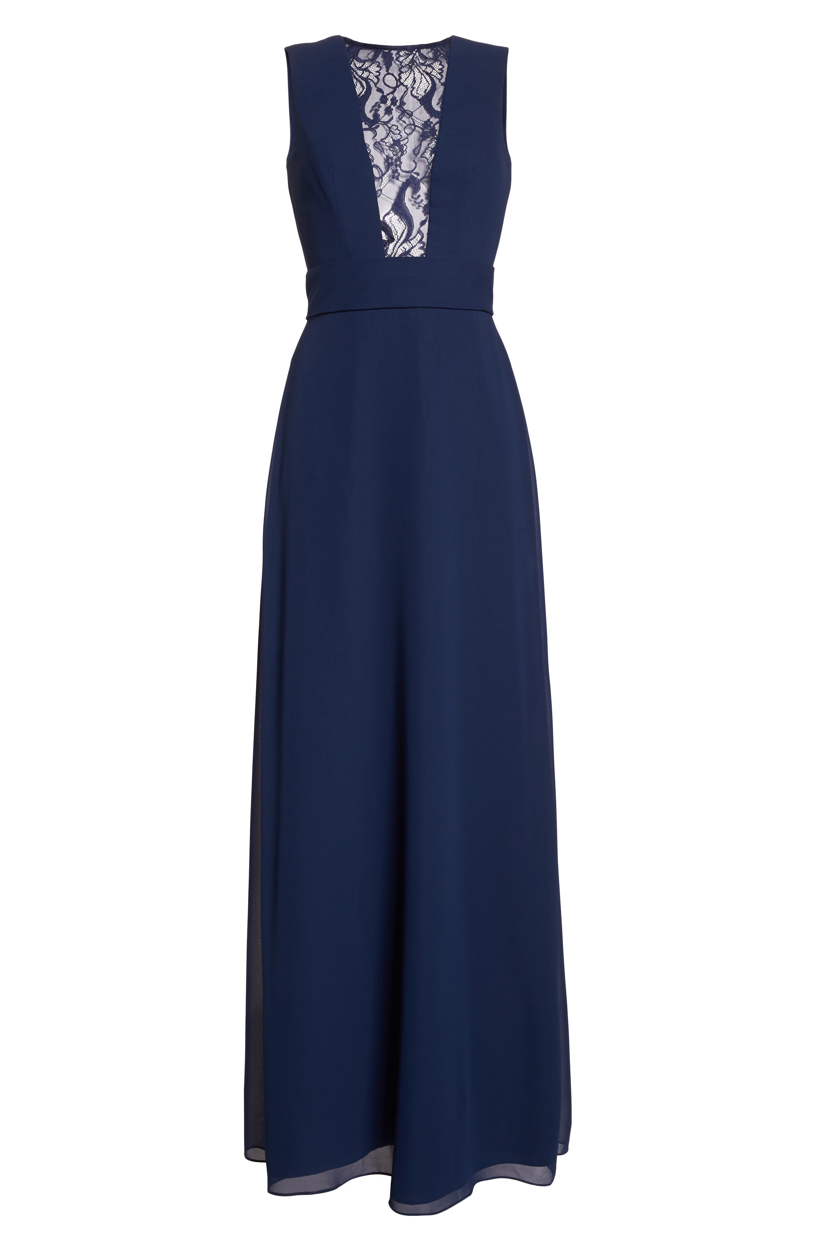 HAYLEY PAIGE OCCASIONS,                             Lace Inset Chiffon Gown,                             Alternate thumbnail 7, color,                             NAVY