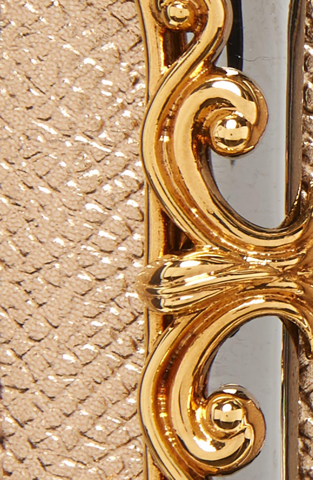 DOLCE&GABBANA,                             DG Baroque Metallic Calfskin Leather Belt,                             Alternate thumbnail 3, color,                             719