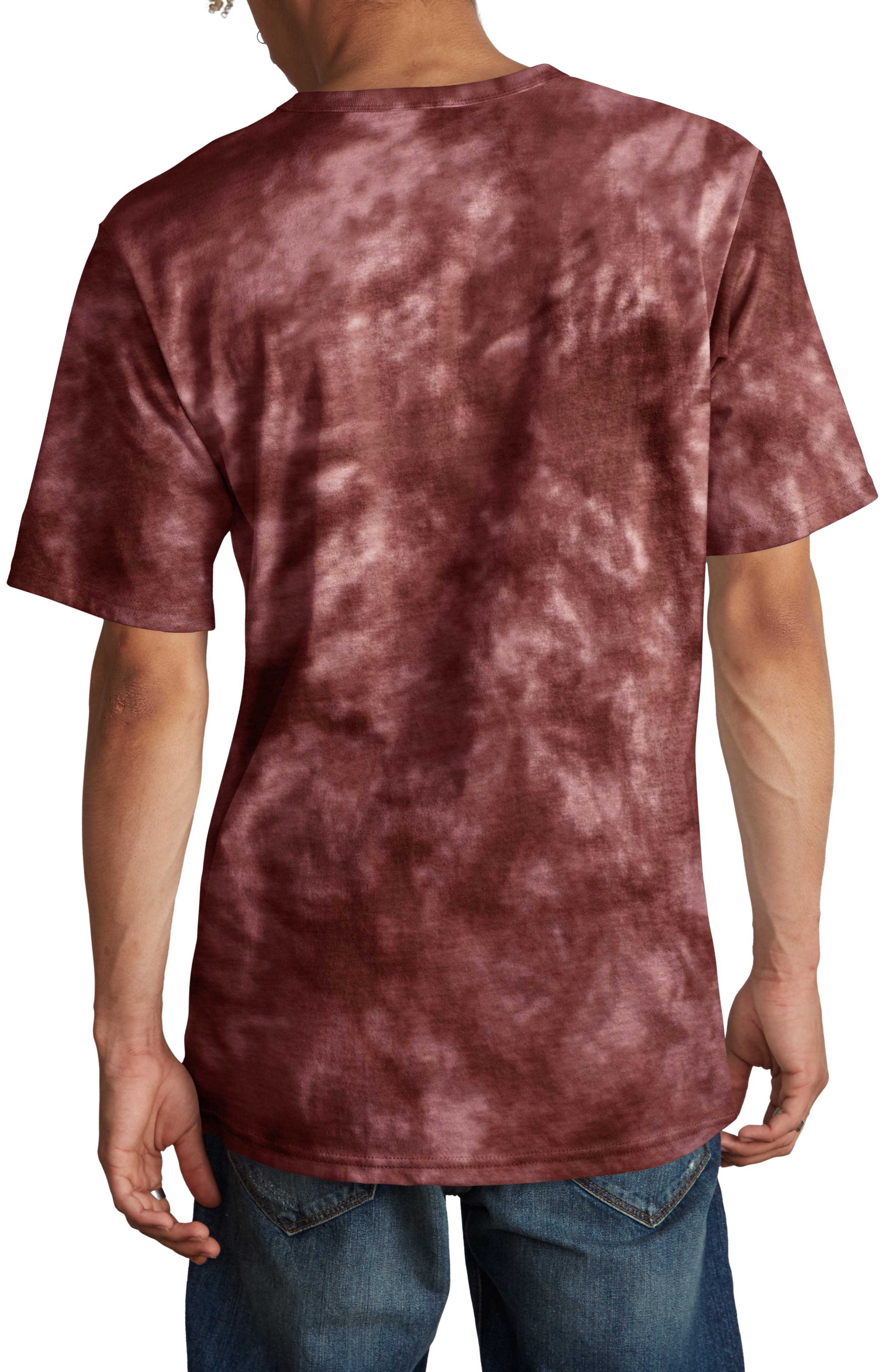 Scrunch Dye Heritage T-Shirt,                             Alternate thumbnail 2, color,                             MULLED BERRY