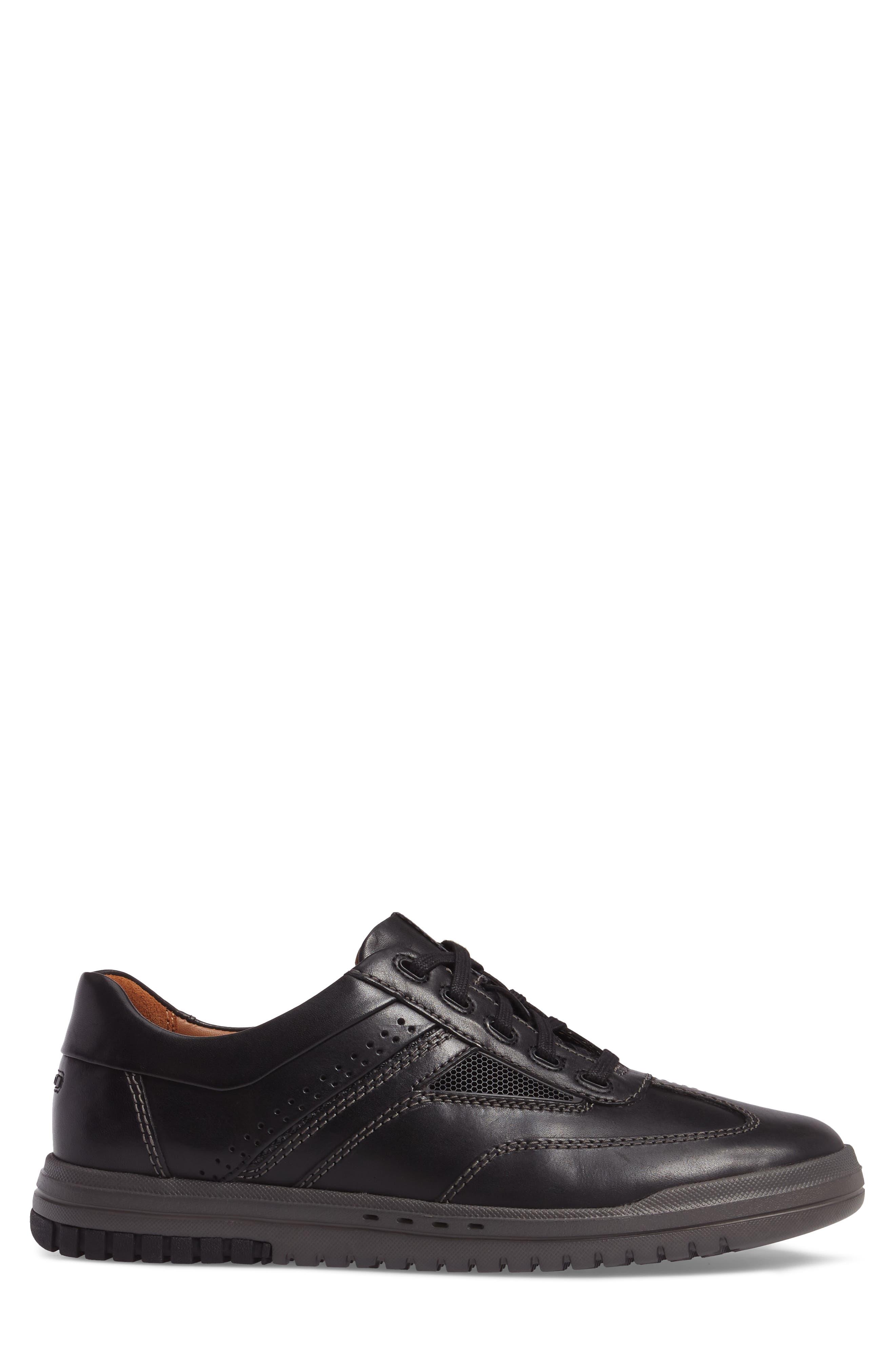 Un.Rhombus Fly Sneaker,                             Alternate thumbnail 3, color,                             BLACK LEATHER