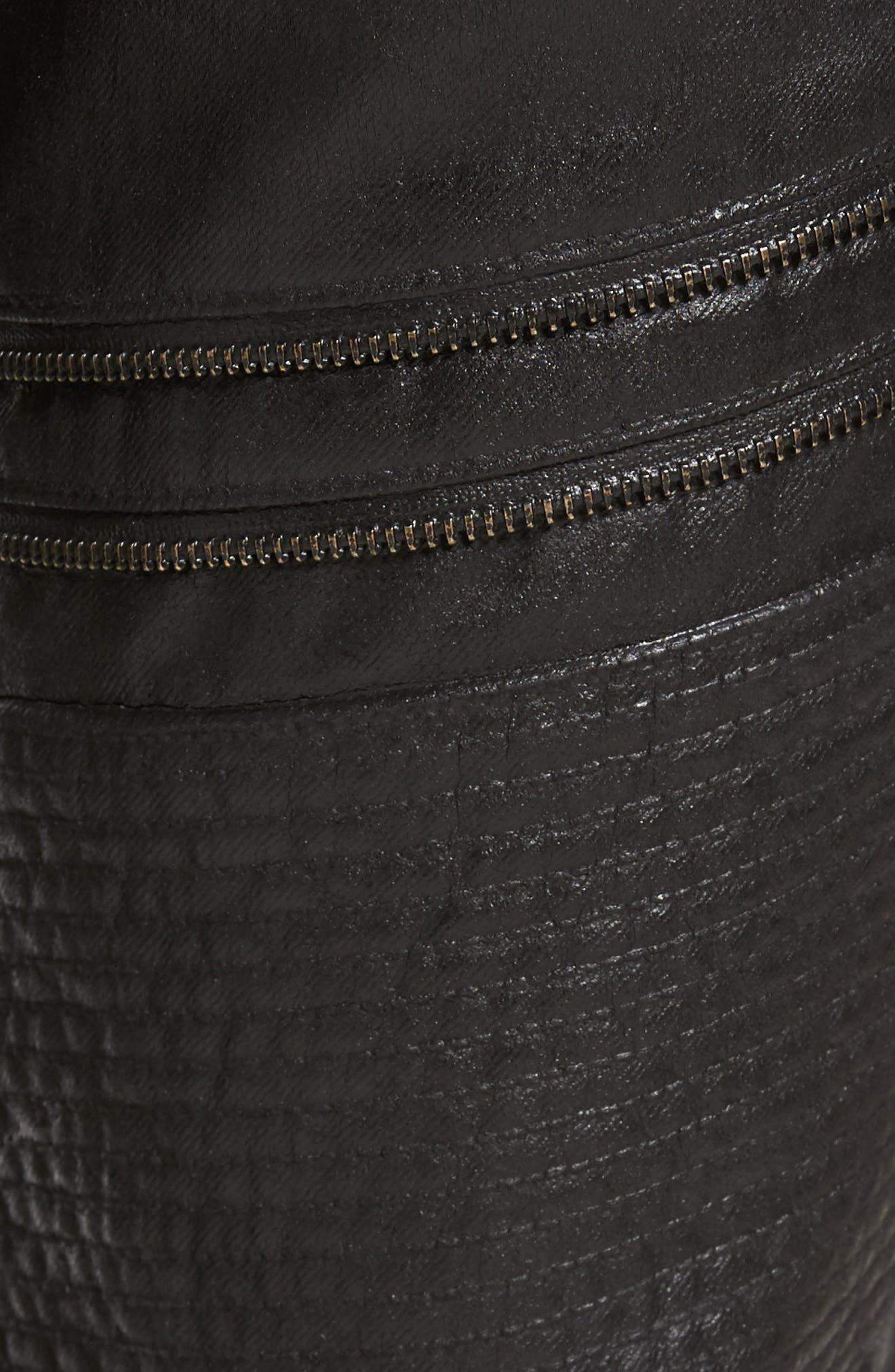 Demon Slim Straight Coated Jeans,                             Alternate thumbnail 5, color,                             BLACK