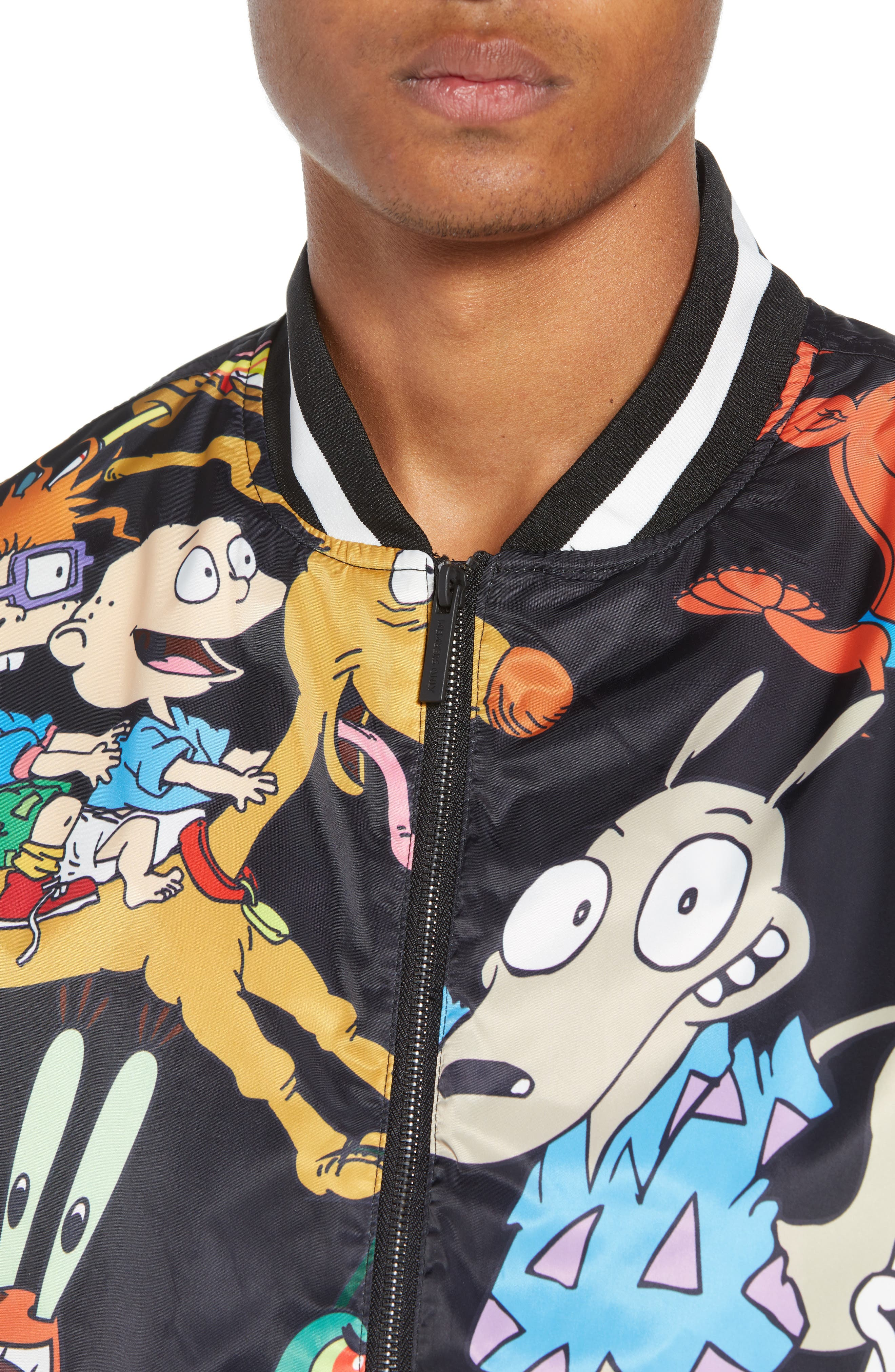 Mashup Nickelodeon Bomber Jacket,                             Alternate thumbnail 4, color,                             BLACK