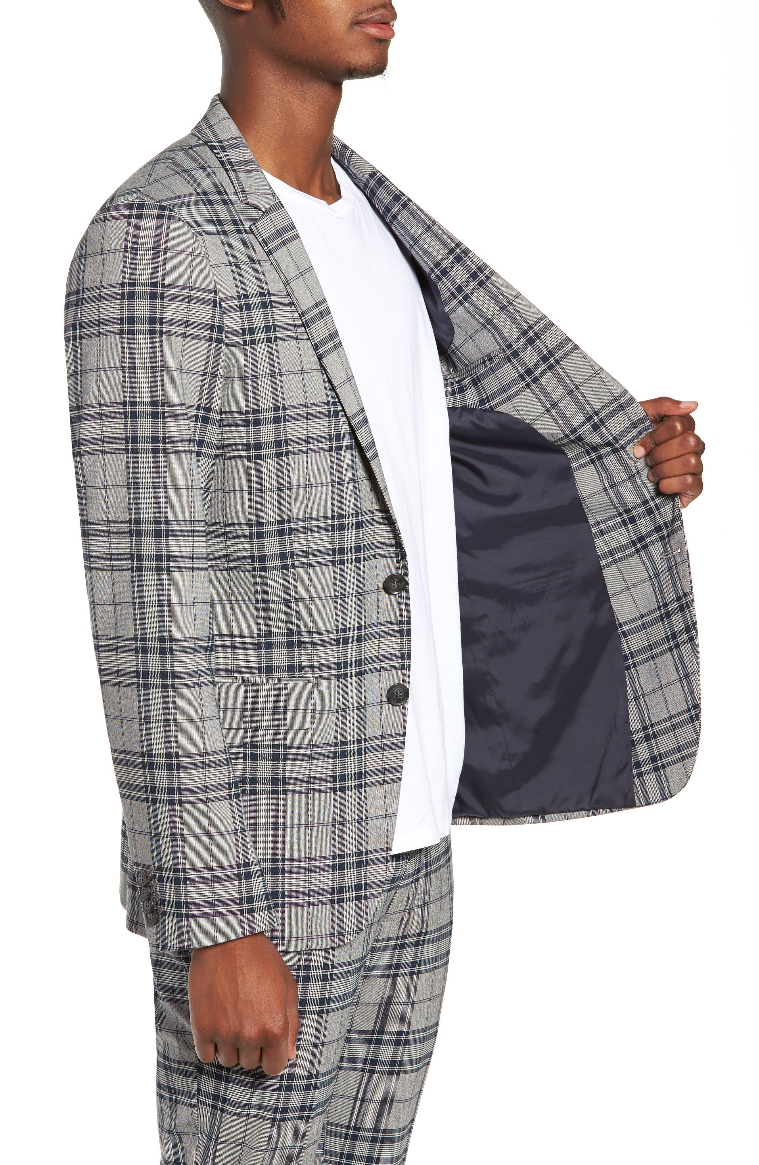 Skinny Fit Plaid Suit Jacket,                             Alternate thumbnail 3, color,                             GREY MULTI