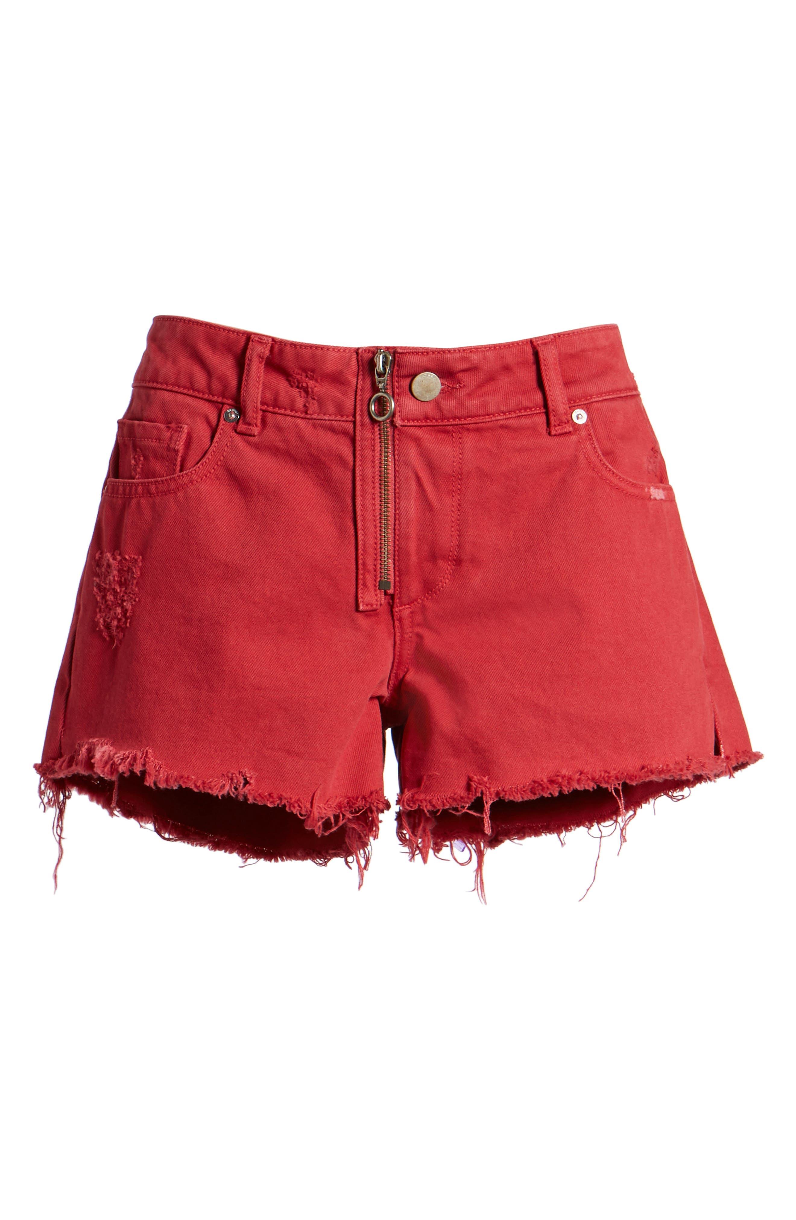 Renee Cutoff Denim Shorts,                             Alternate thumbnail 7, color,                             CHERRY BOMB