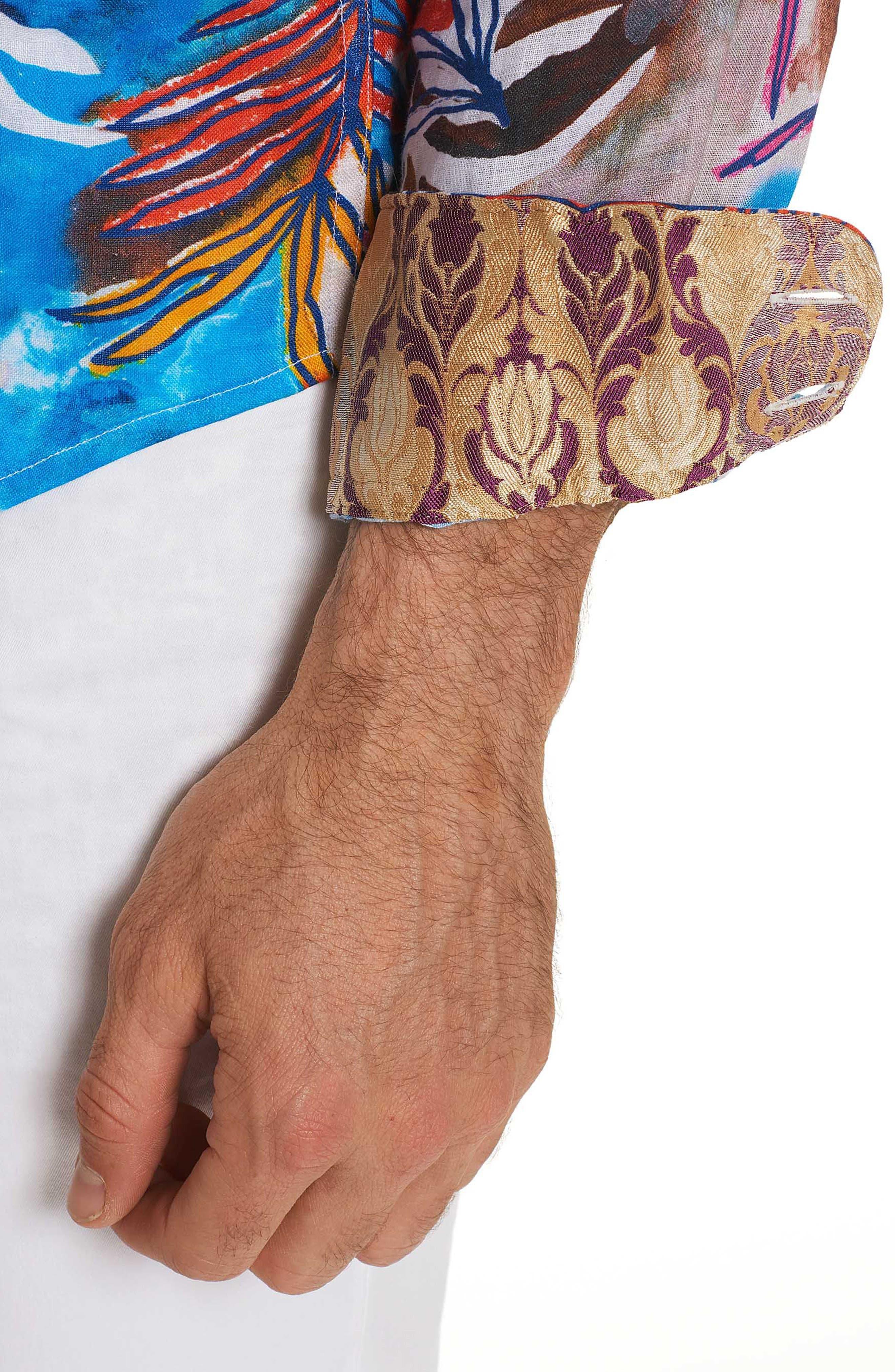 Kingpin Louie Limited Edition Classic Fit Linen Sport Shirt,                             Alternate thumbnail 3, color,                             400
