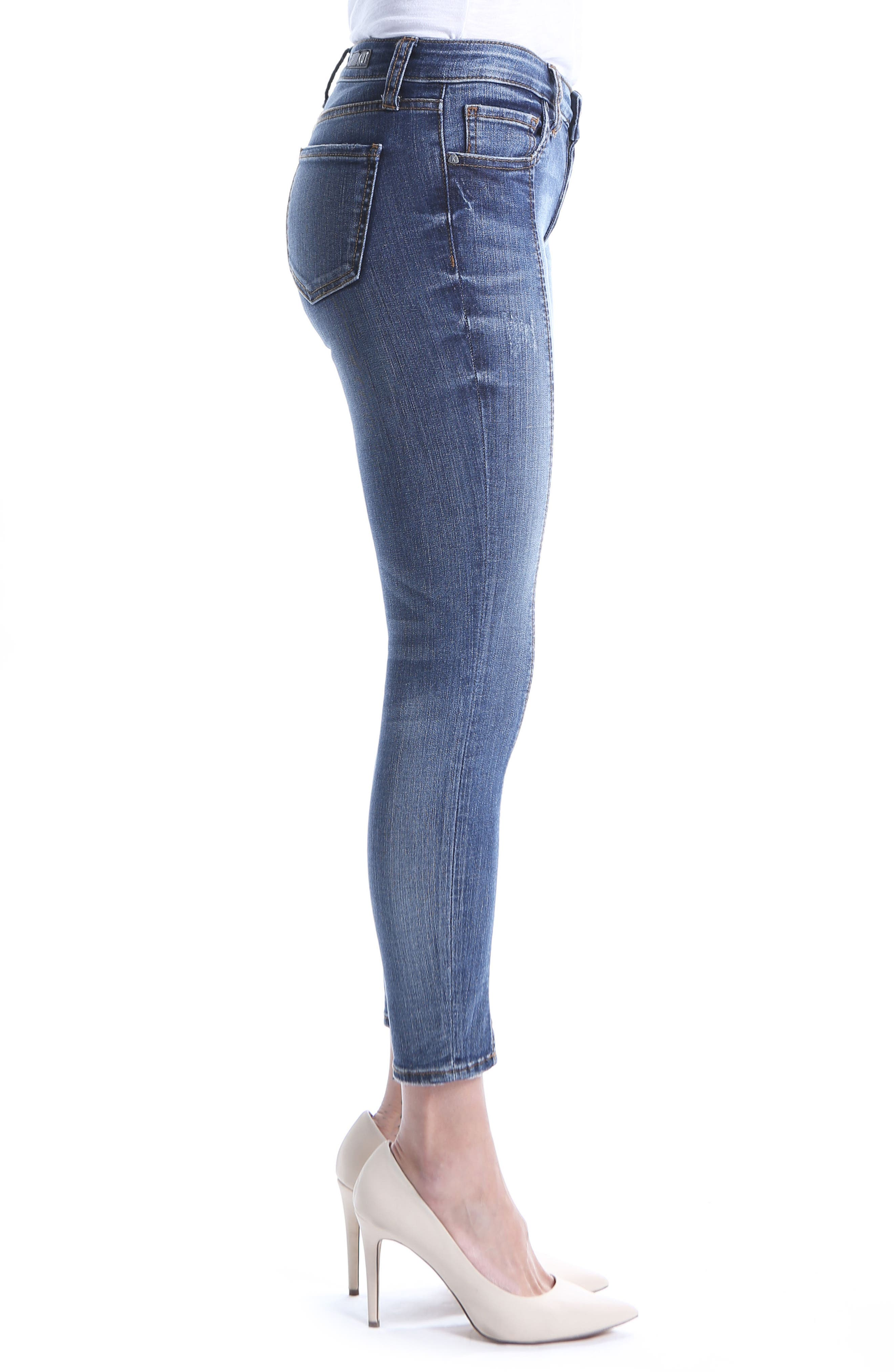 Distressed Seamed Skinny Jeans,                             Alternate thumbnail 3, color,                             400