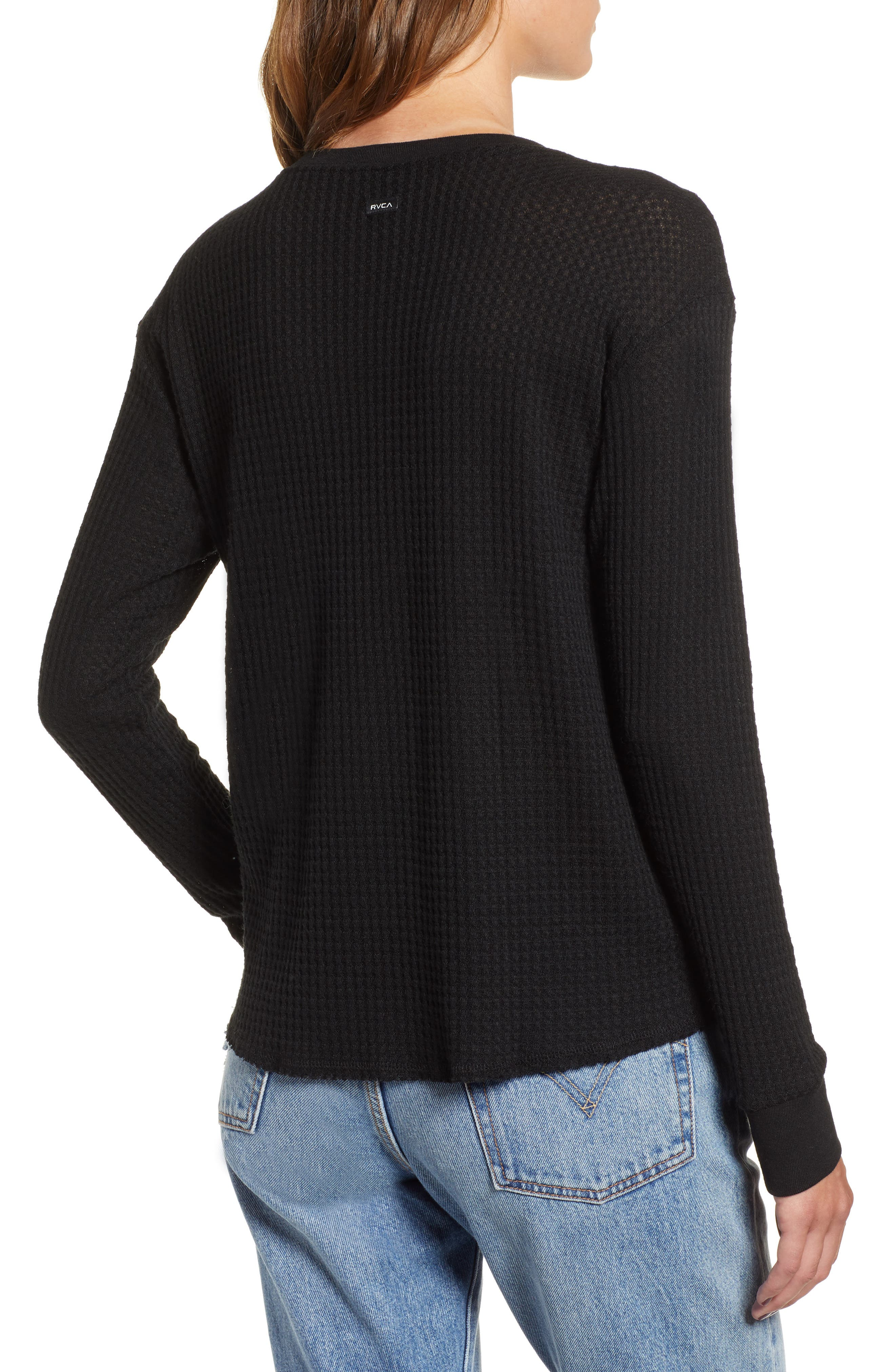 Cited Waffle Knit Pullover Top,                             Alternate thumbnail 2, color,                             001